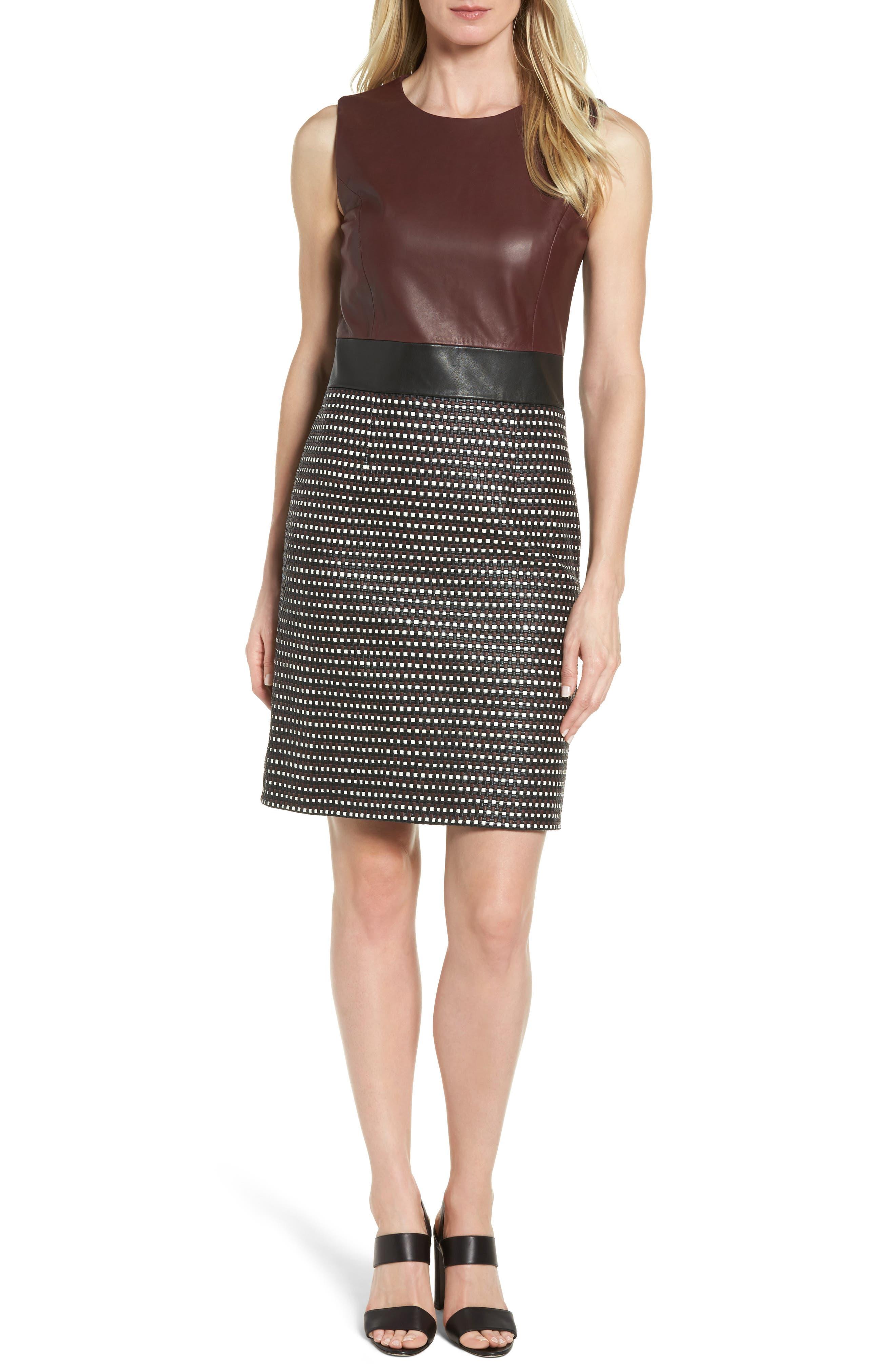 Syrina Leather Sheath Dress,                             Main thumbnail 1, color,                             Black/ Pomegranate