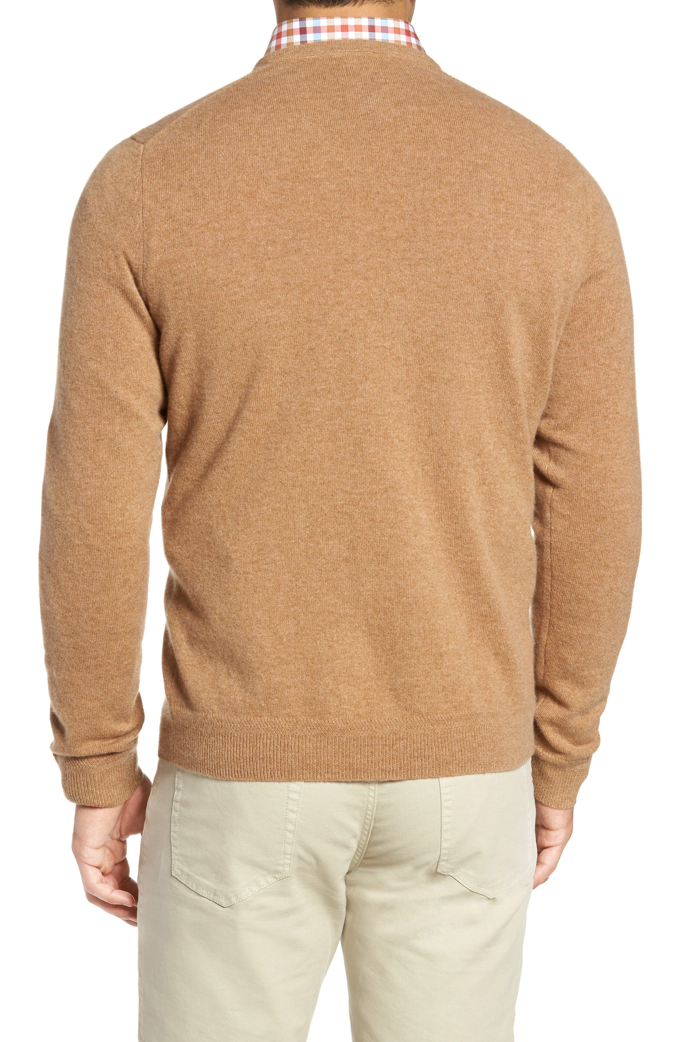 John W. Nordstrom Cashmere V-Neck Sweater,                             Alternate thumbnail 2, color,                             Brown Bear