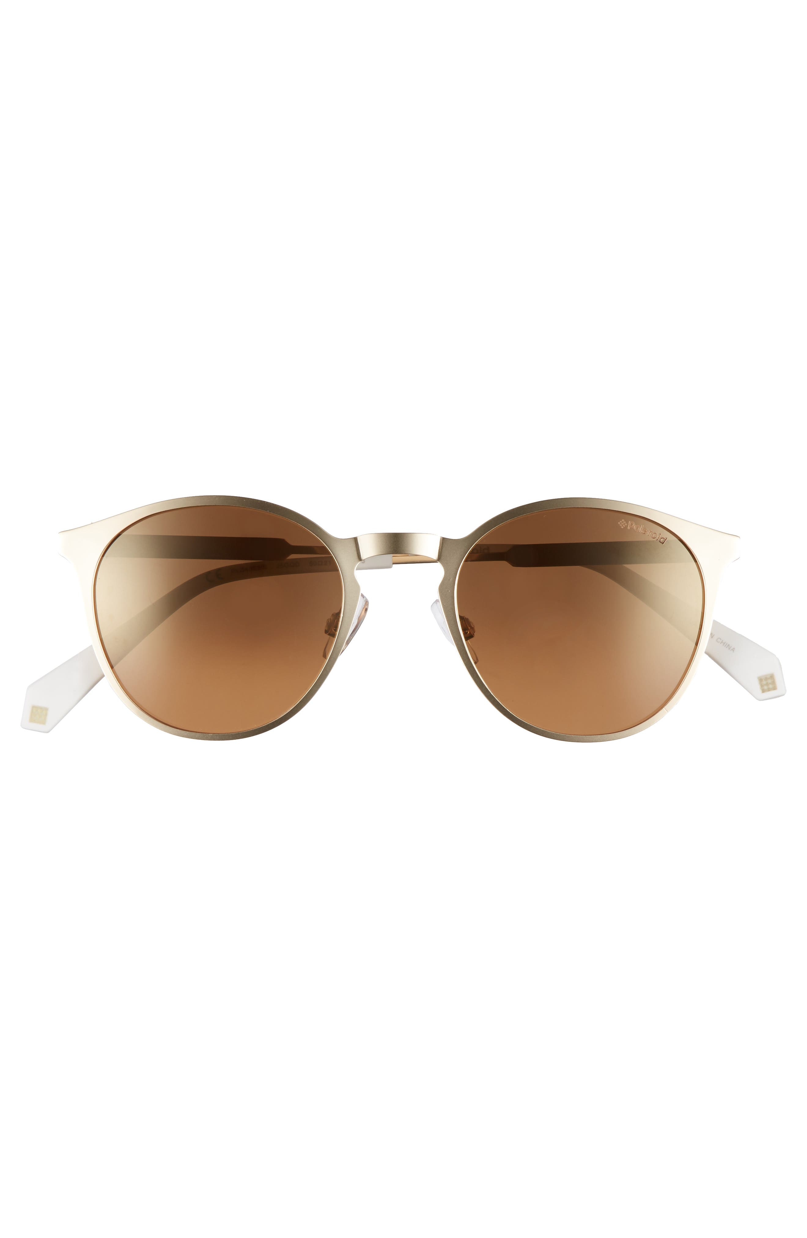 50mm Round Polarized Sunglasses,                             Alternate thumbnail 3, color,                             Gold