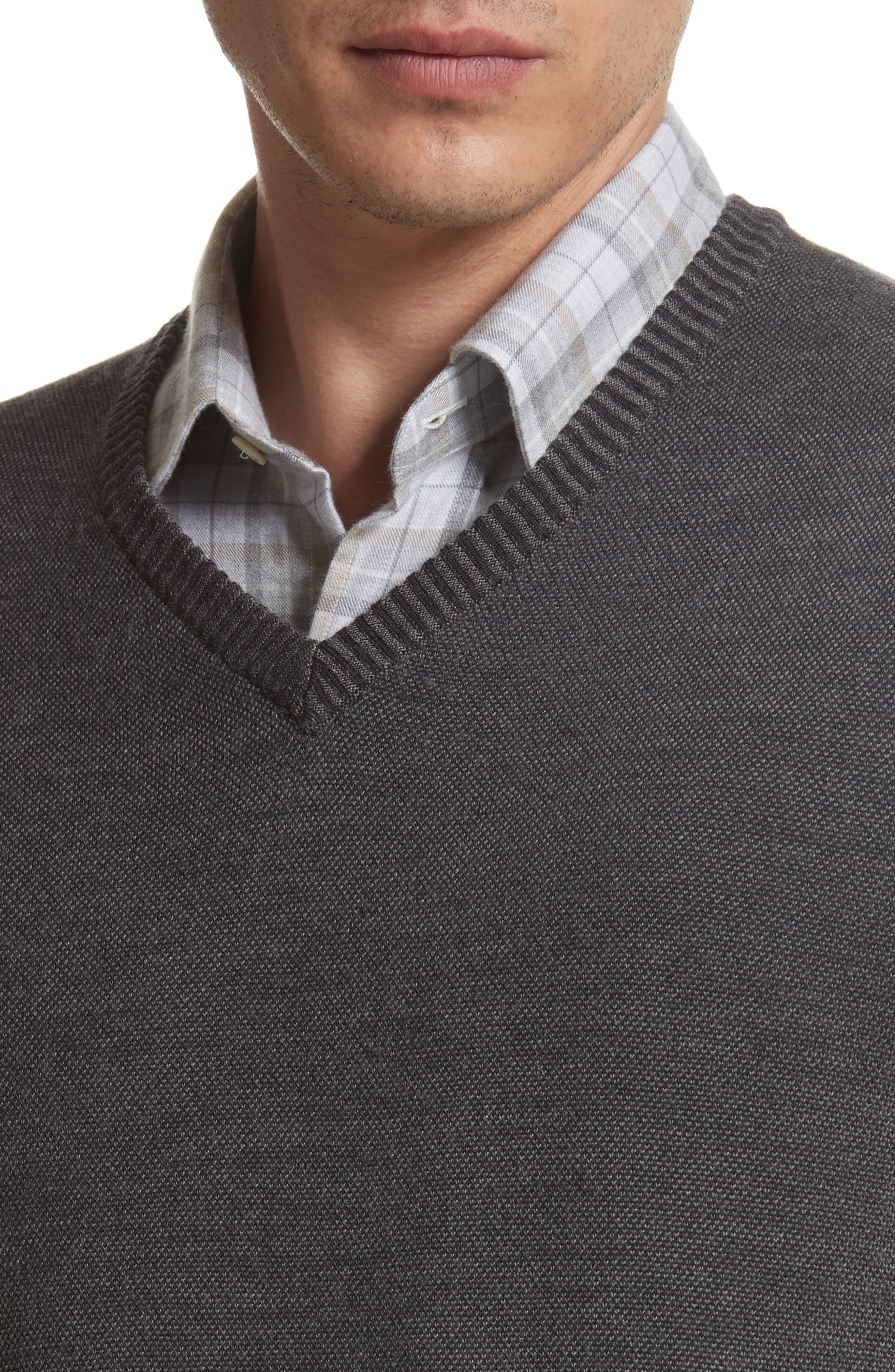 Regular Fit Wool Sweater,                             Alternate thumbnail 4, color,                             Charcoal