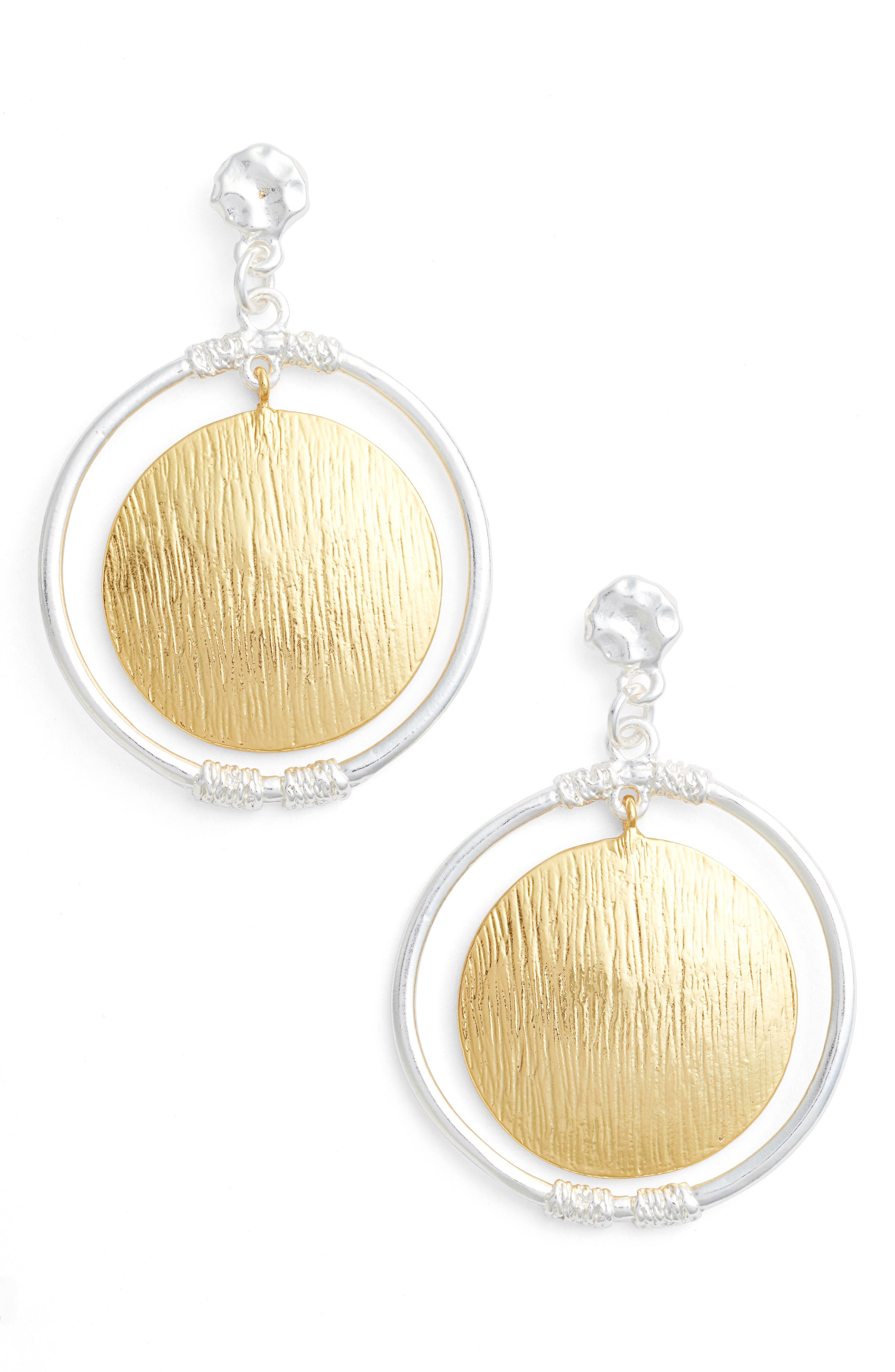 Two-Tone Drop Earrings,                         Main,                         color, Silver/Gold Mix