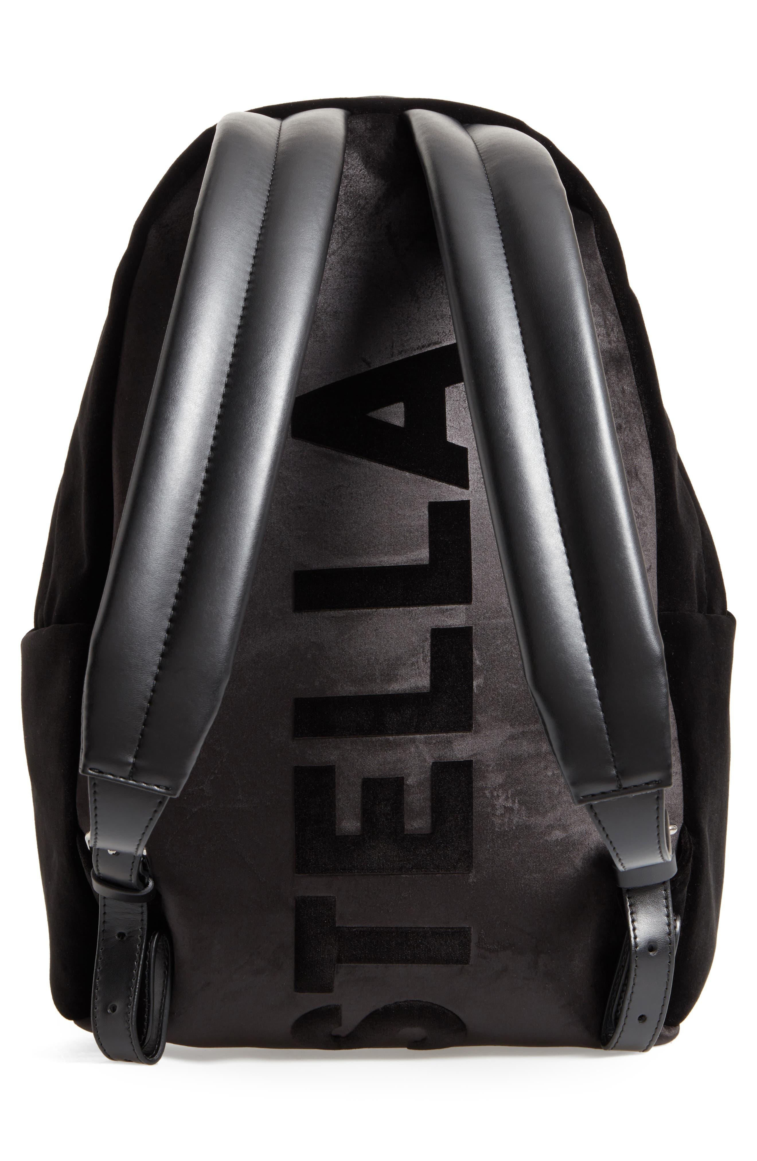 Medium Falabella Velvet Backpack,                             Alternate thumbnail 3, color,                             Black