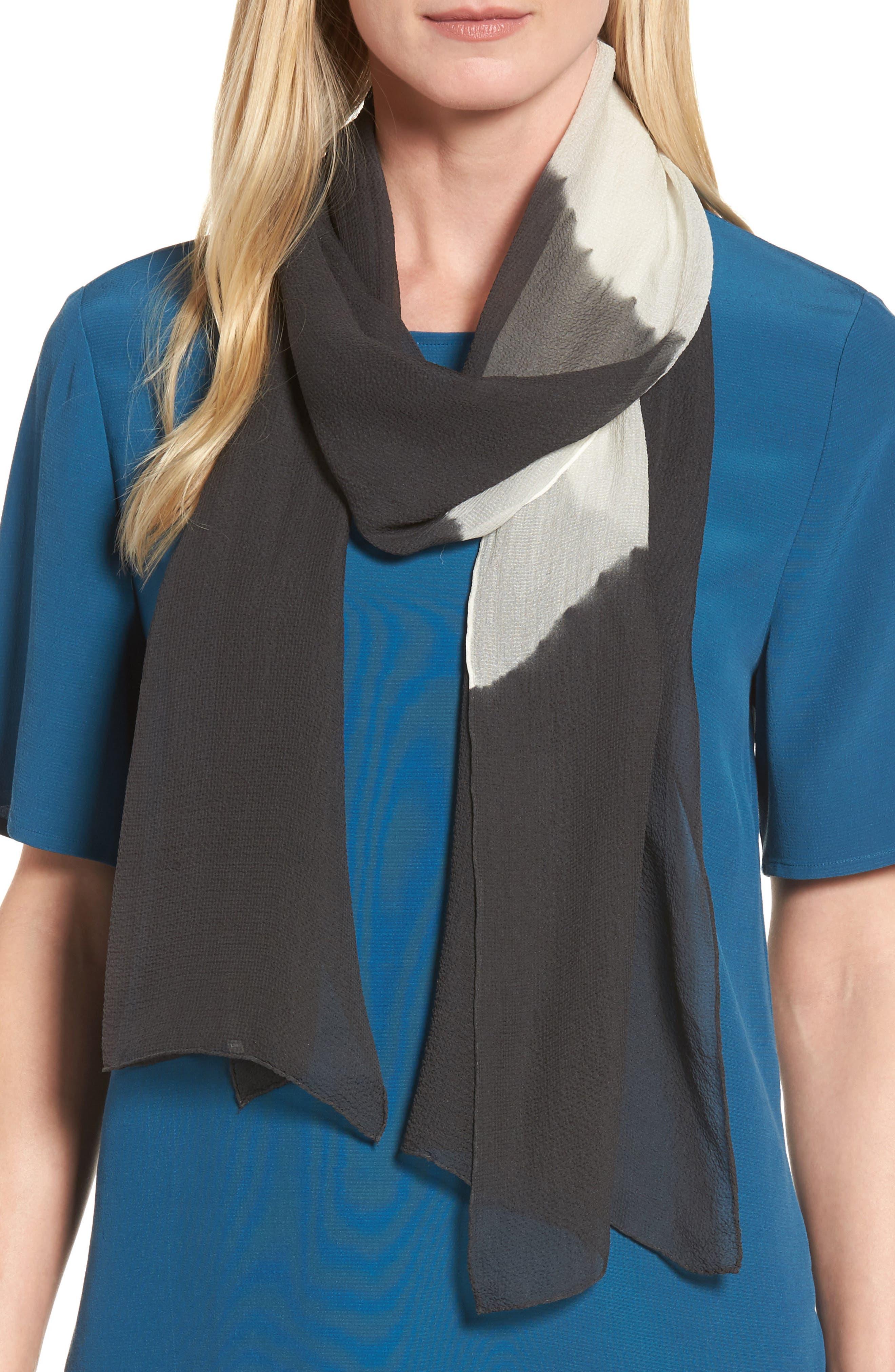 Colorblock Silk Scarf,                         Main,                         color, Bark