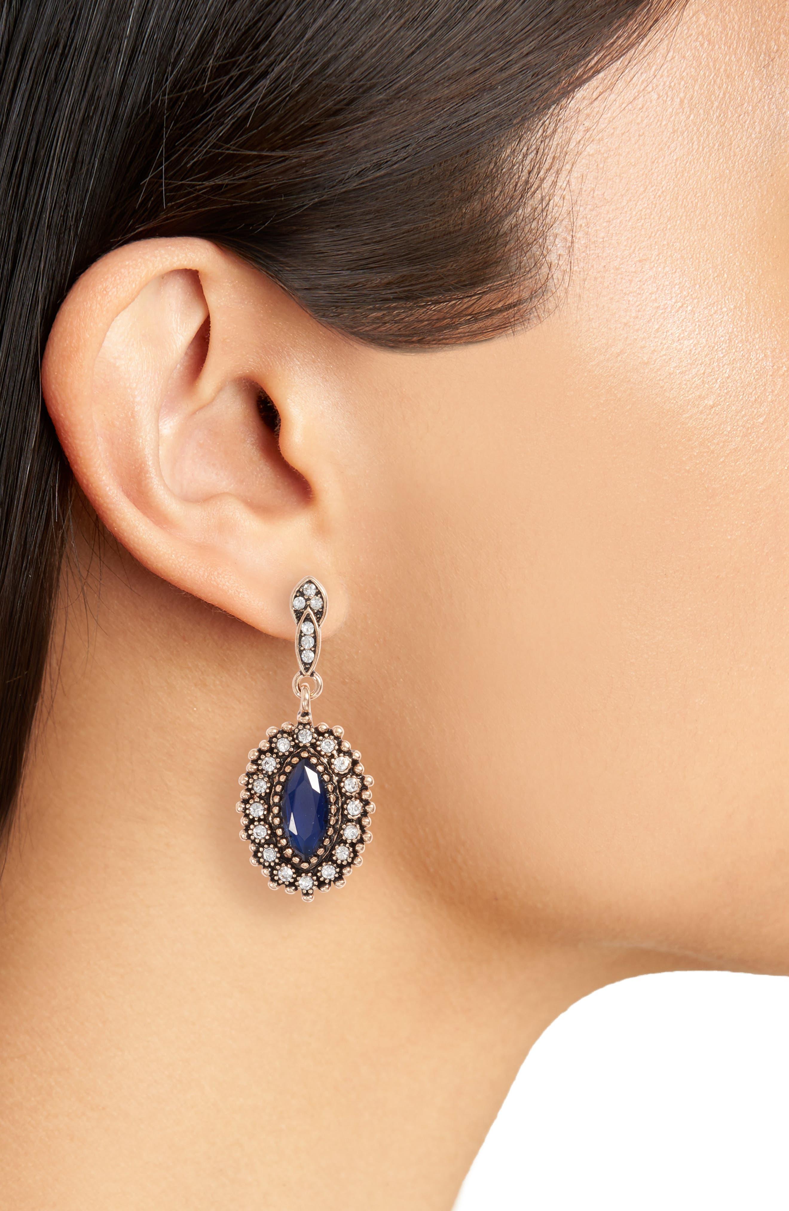 Rosana Drop Earrings,                             Alternate thumbnail 2, color,                             Blue / Gold