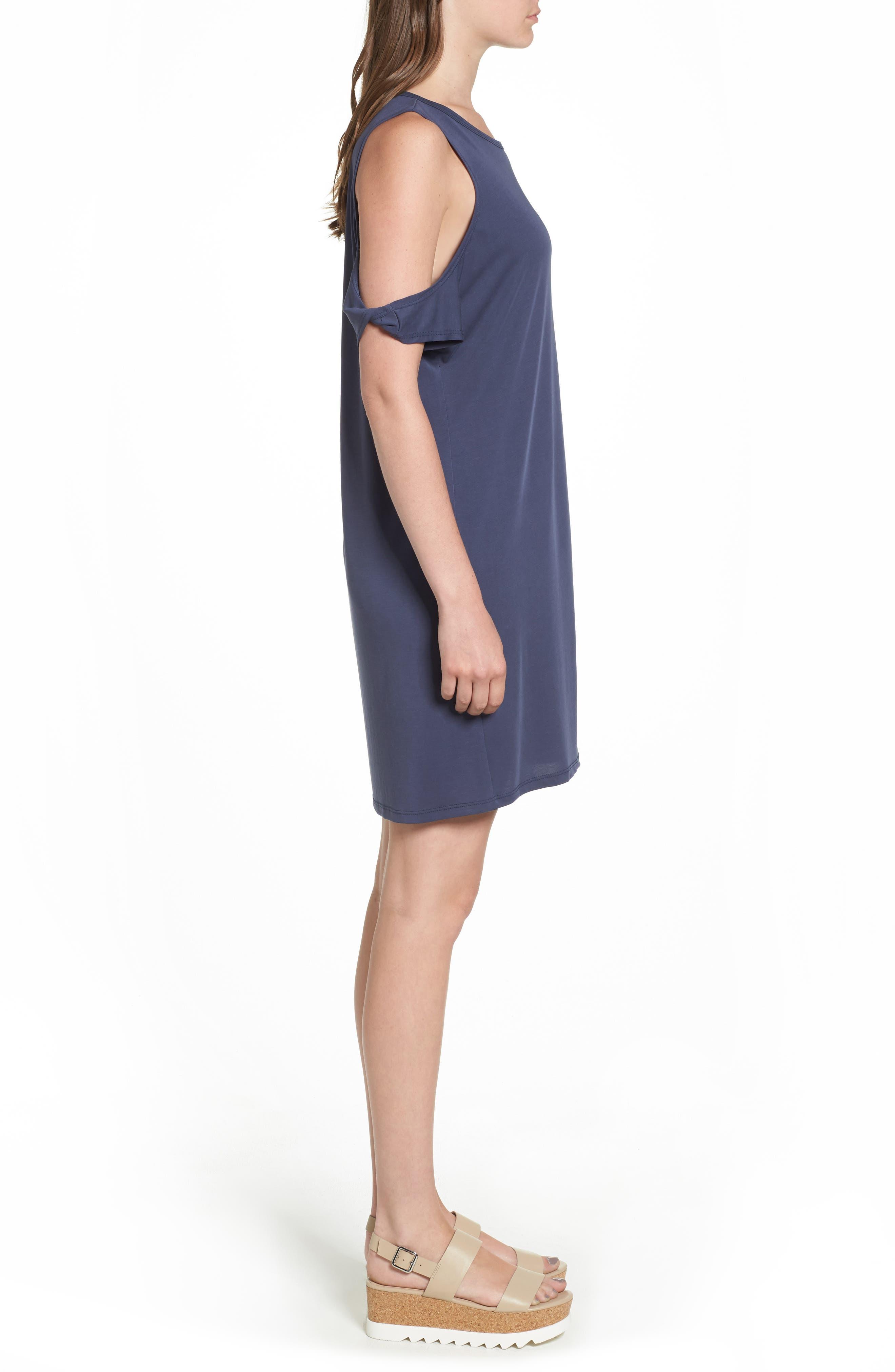 Twisted Cold Shoulder Dress,                             Alternate thumbnail 3, color,                             Denim Navy