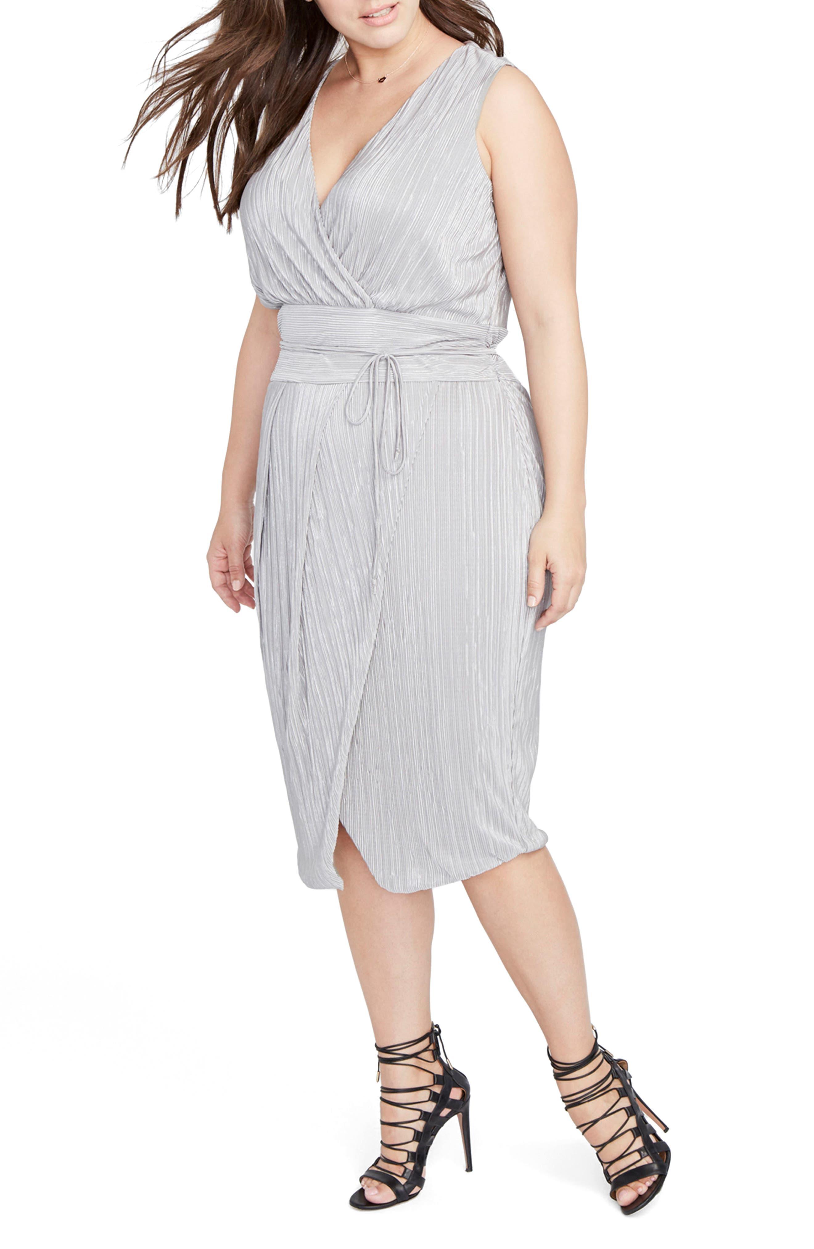 Foiled Faux Wrap Dress,                         Main,                         color, Light Silver