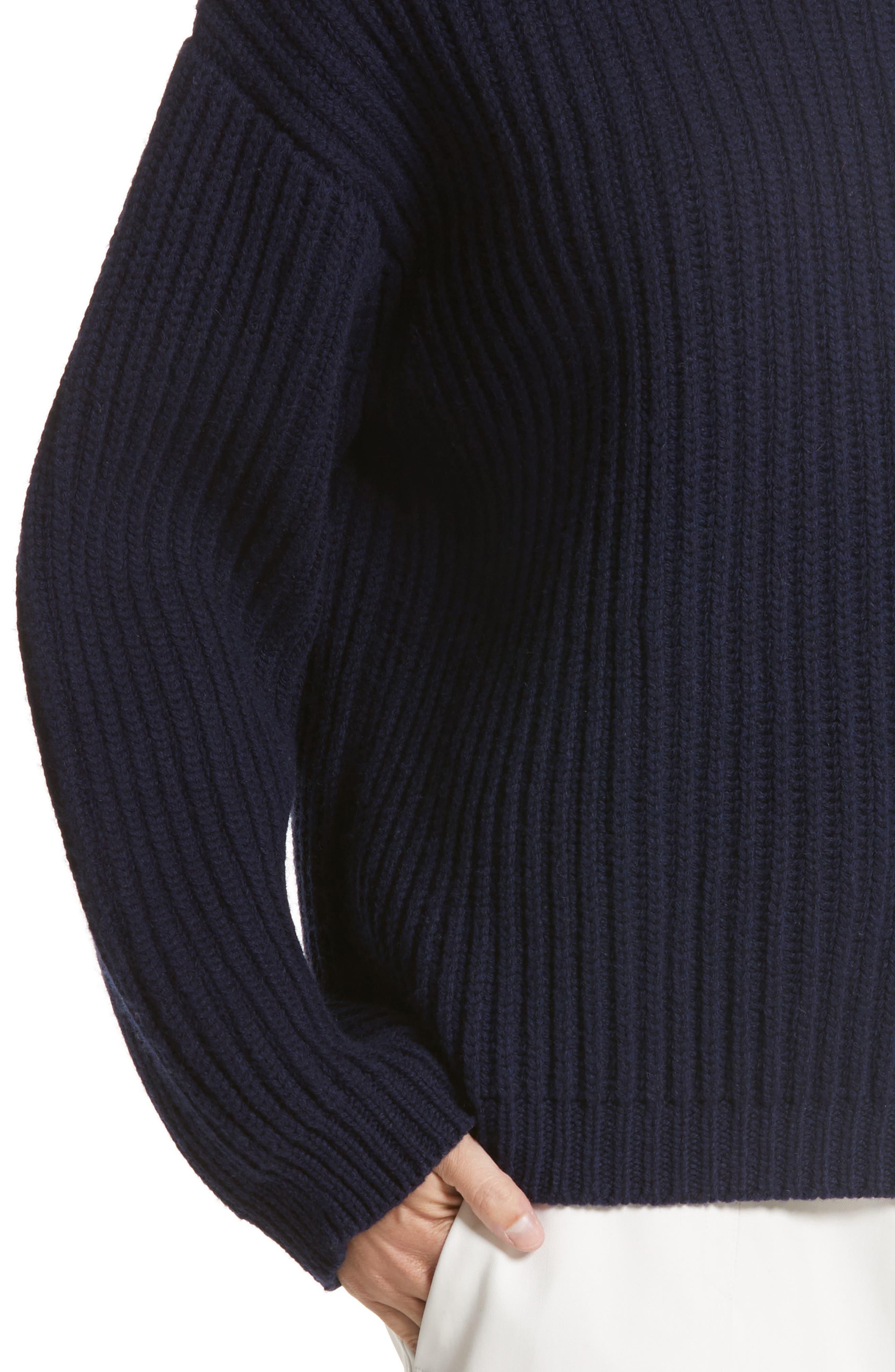 Crop Wool Sweater,                             Alternate thumbnail 6, color,                             Navy