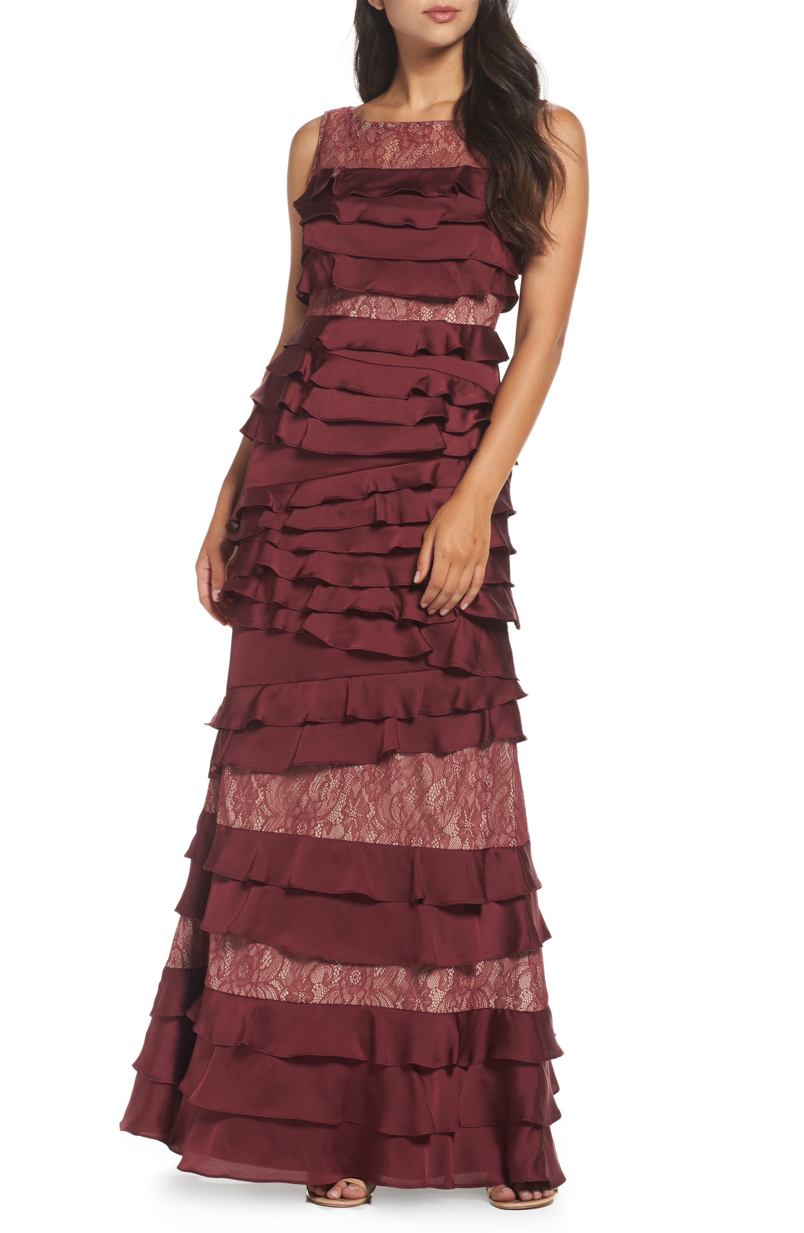 Mixed Media Gown,                         Main,                         color, Black Cherry