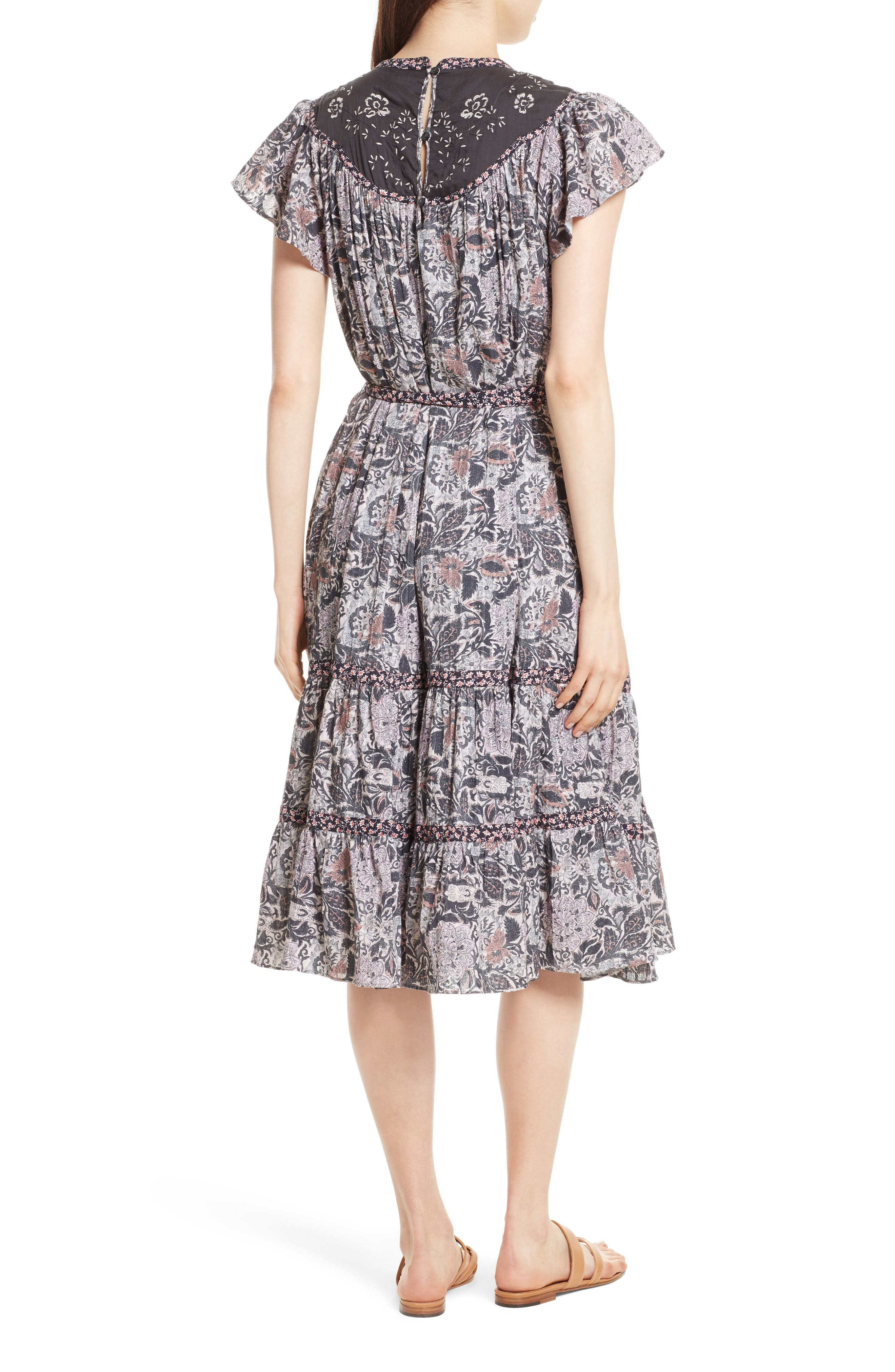 Indochine Embroidered Floral Dress,                             Alternate thumbnail 2, color,                             Washed Black Combo