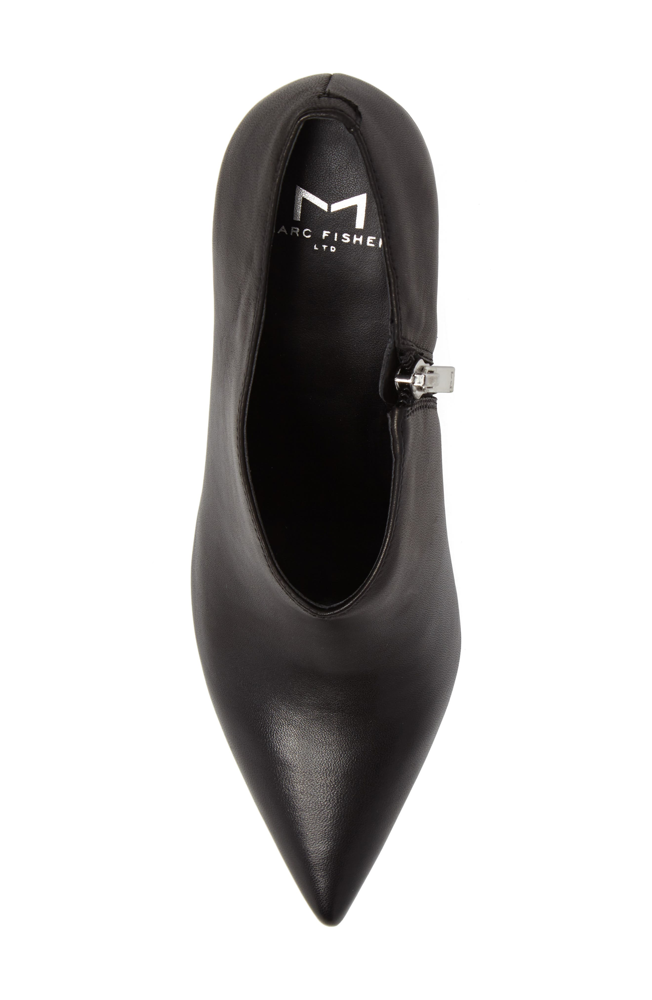 Hoda Pointy Toe Bootie,                             Alternate thumbnail 5, color,                             Black Leather