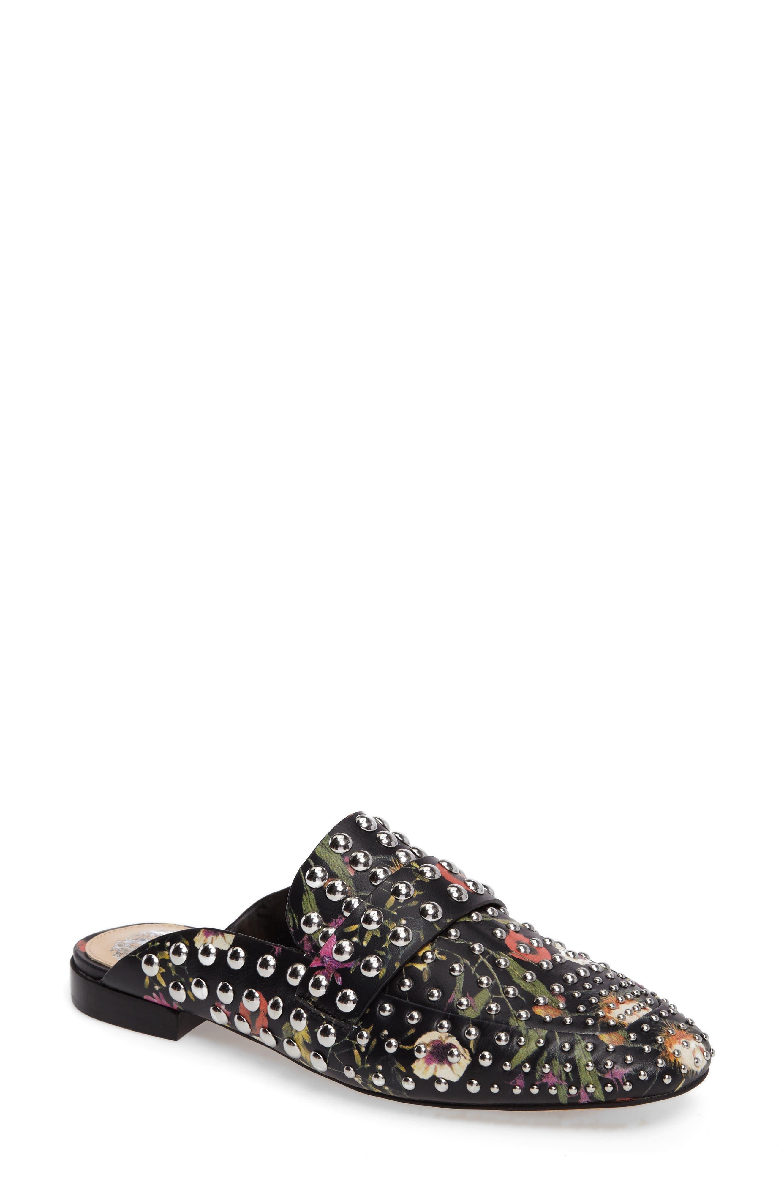Sessa Studded Loafer Mule,                         Main,                         color, Black Floral Leather