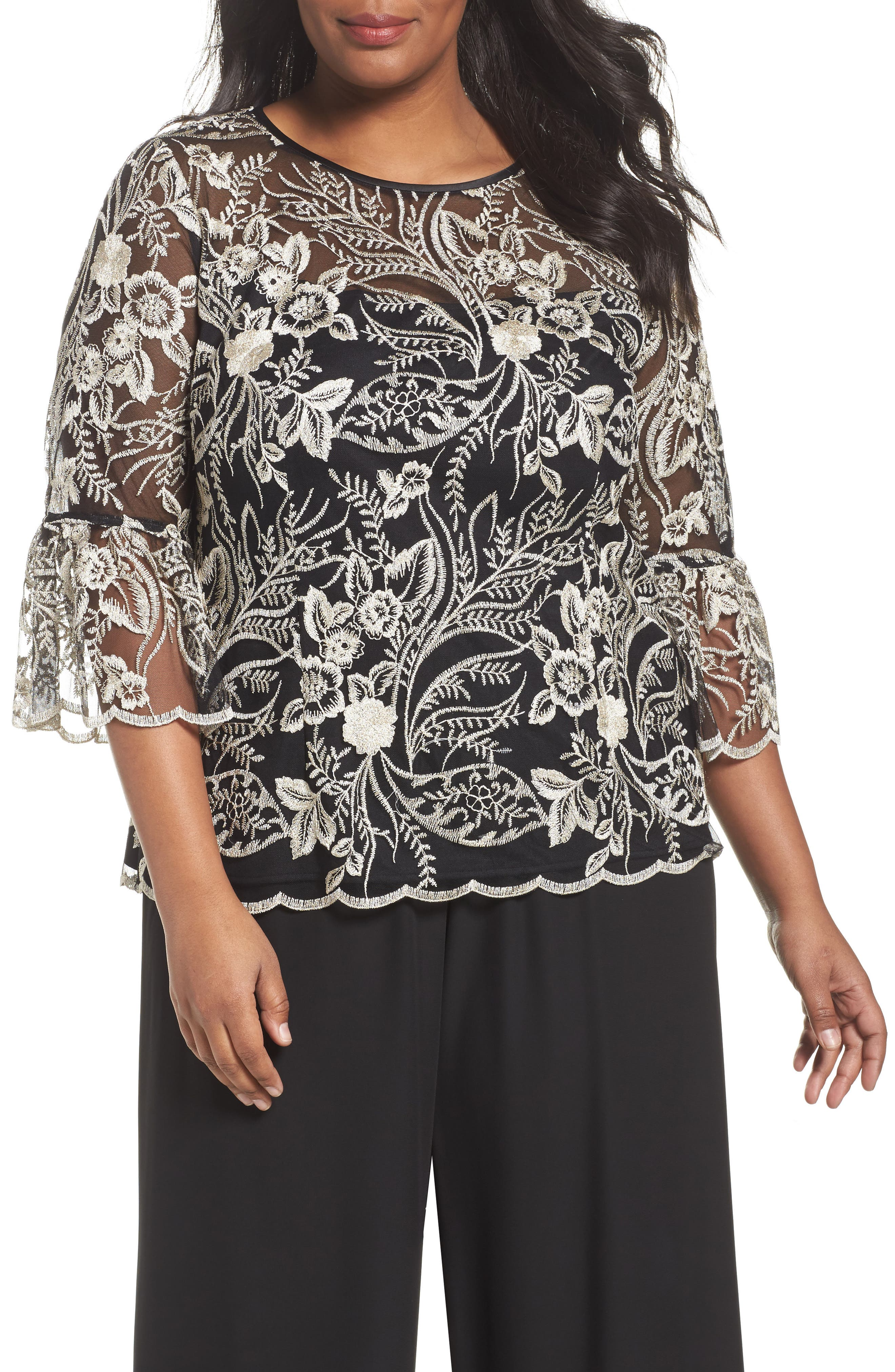 Embroidered Bell Sleeve Blouse,                         Main,                         color, Black/ Champagne