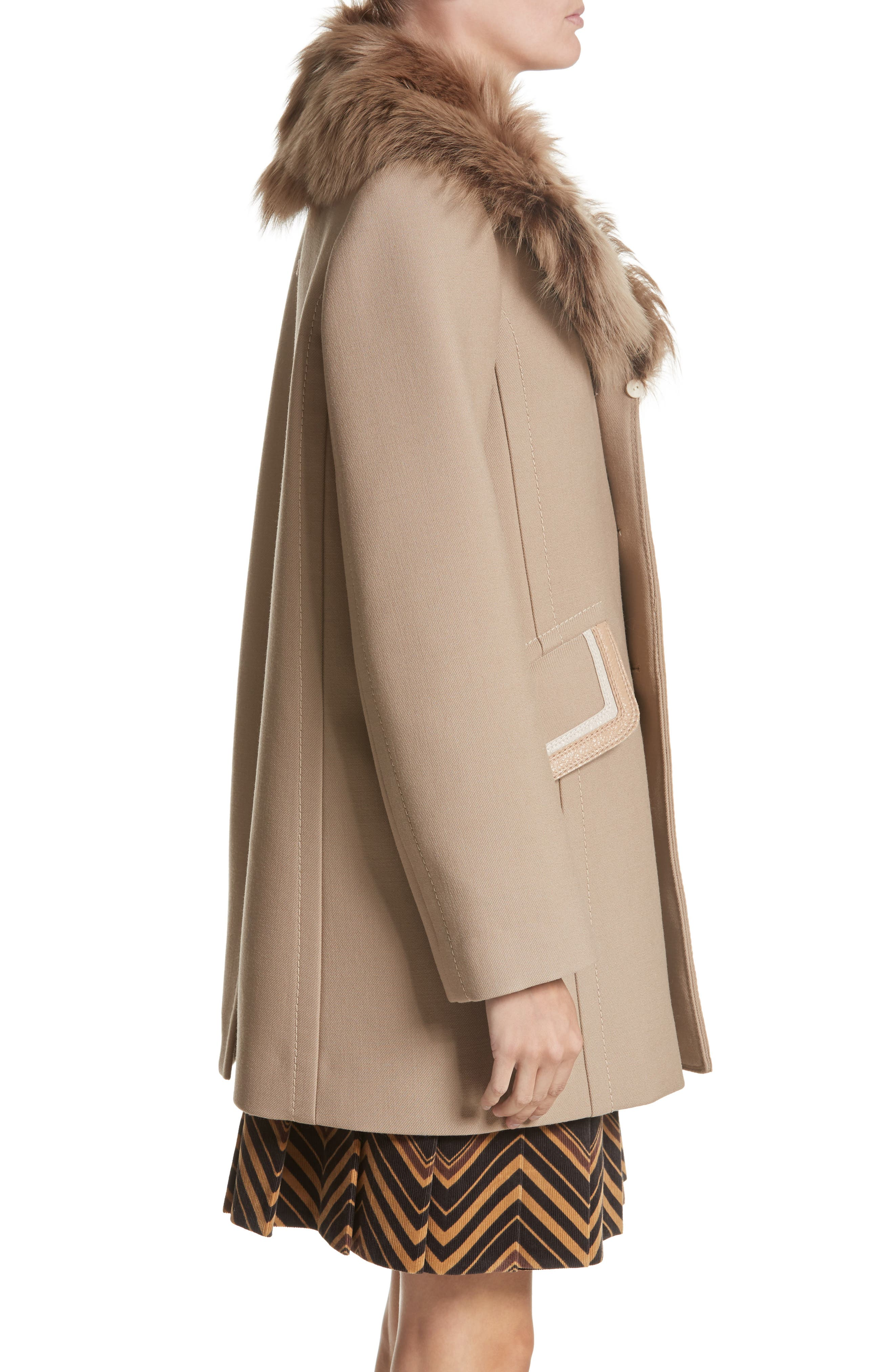 Double Face Wool Blend Coat with Removable Genuine Lamb Fur Collar,                             Alternate thumbnail 3, color,                             Beige