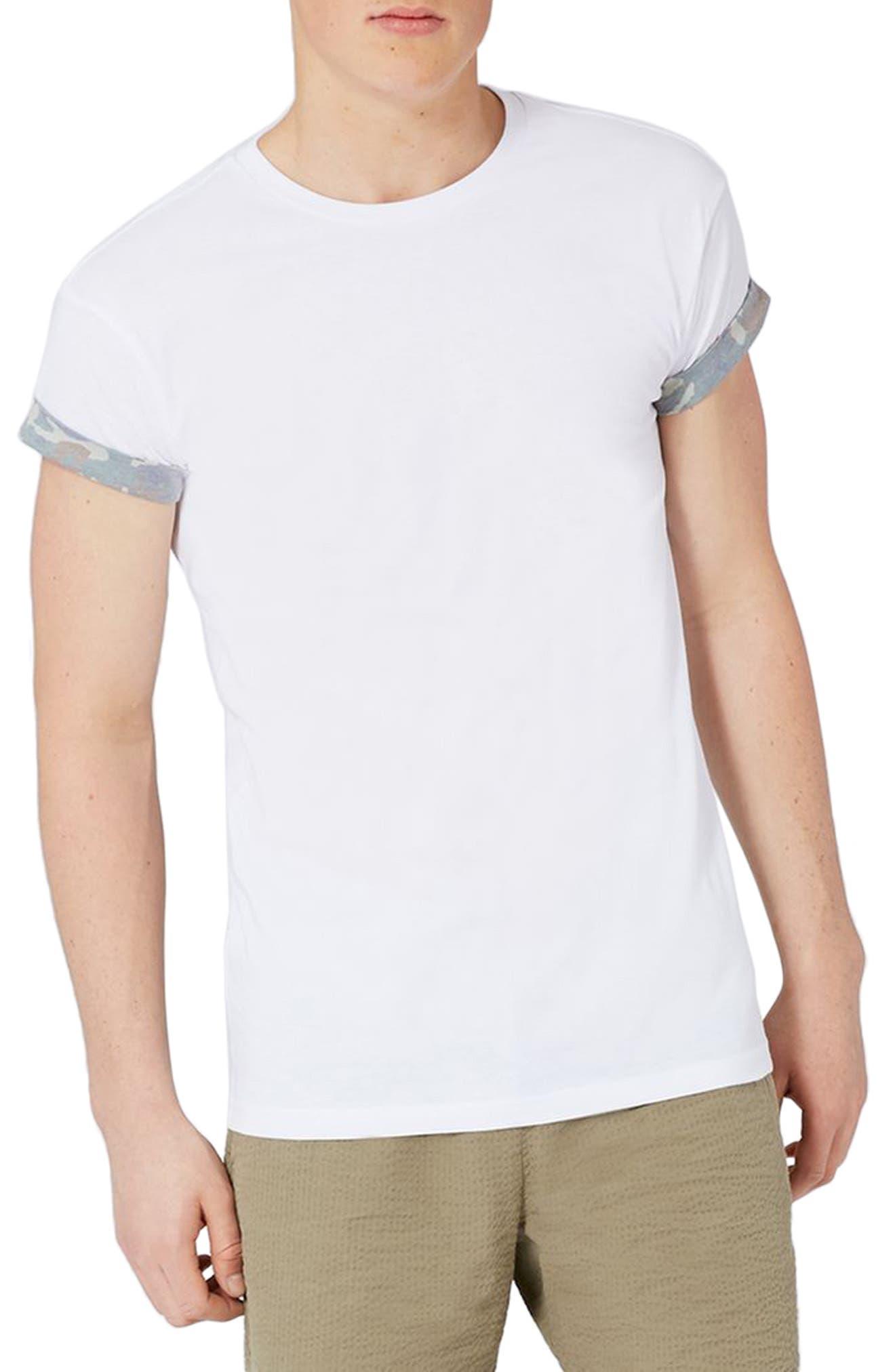 Topman Camo Trim Muscle Fit Roller T-Shirt