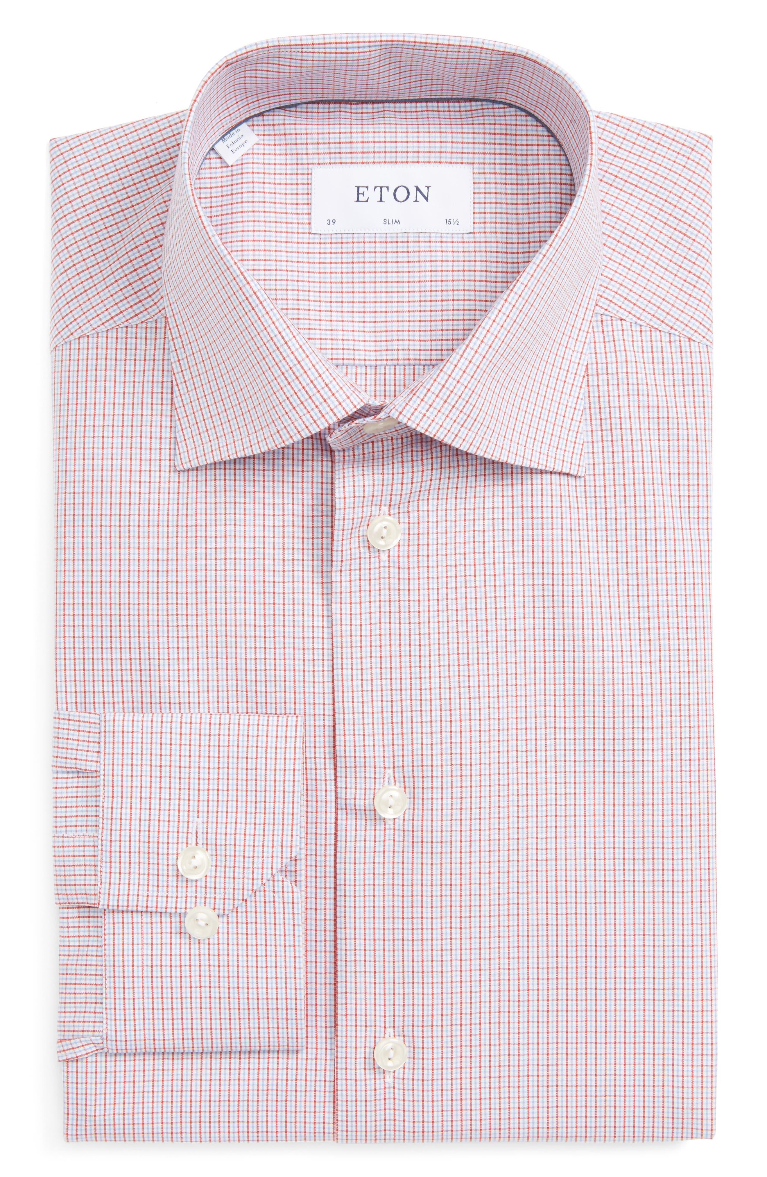 Slim Fit Check Dress Shirt,                             Main thumbnail 1, color,                             Blue/ Red