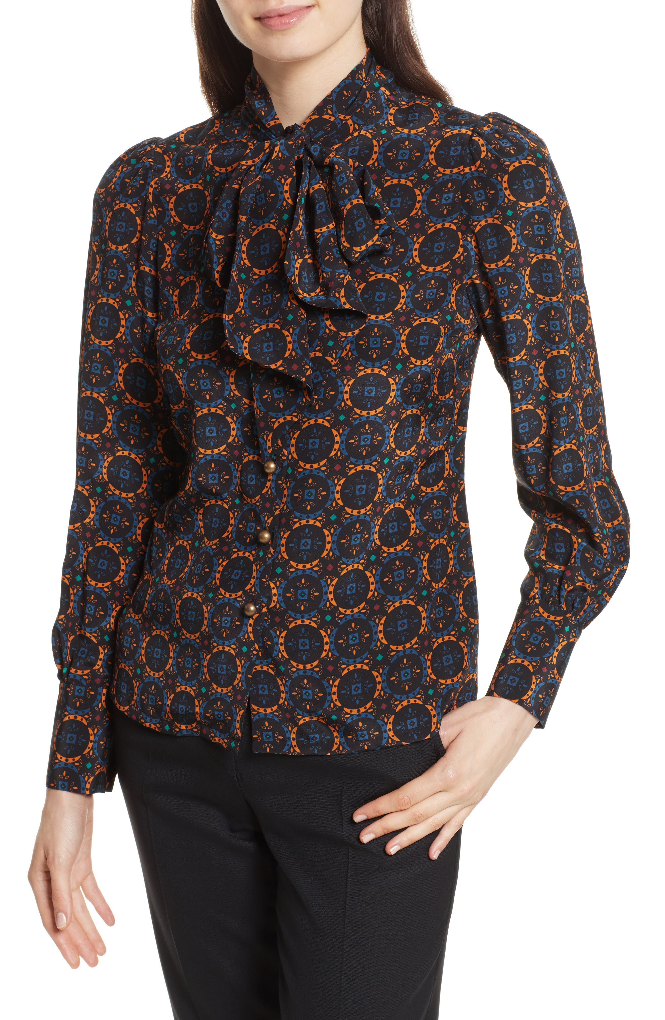 Bow Neck Silk Blouse,                         Main,                         color, Foulard Placement