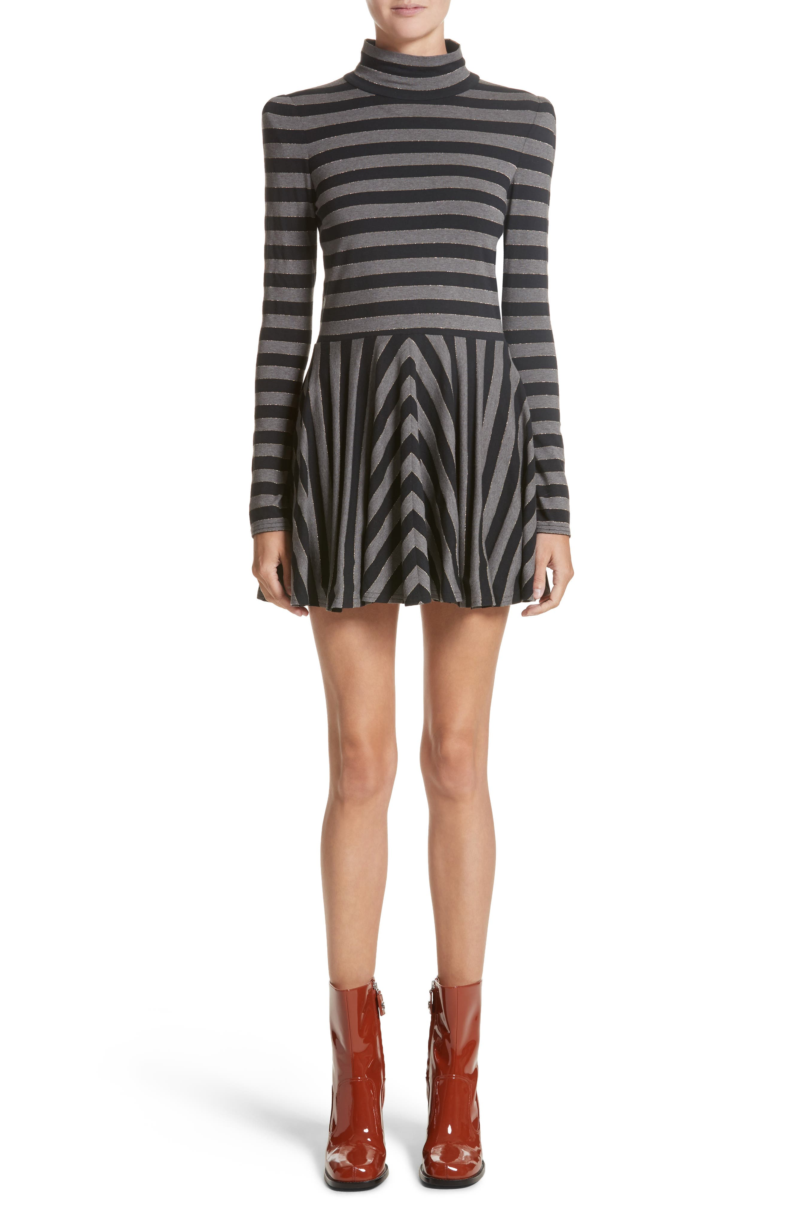 Stripe Jersey Fit & Flare Dress,                             Main thumbnail 1, color,                             Grey Multi