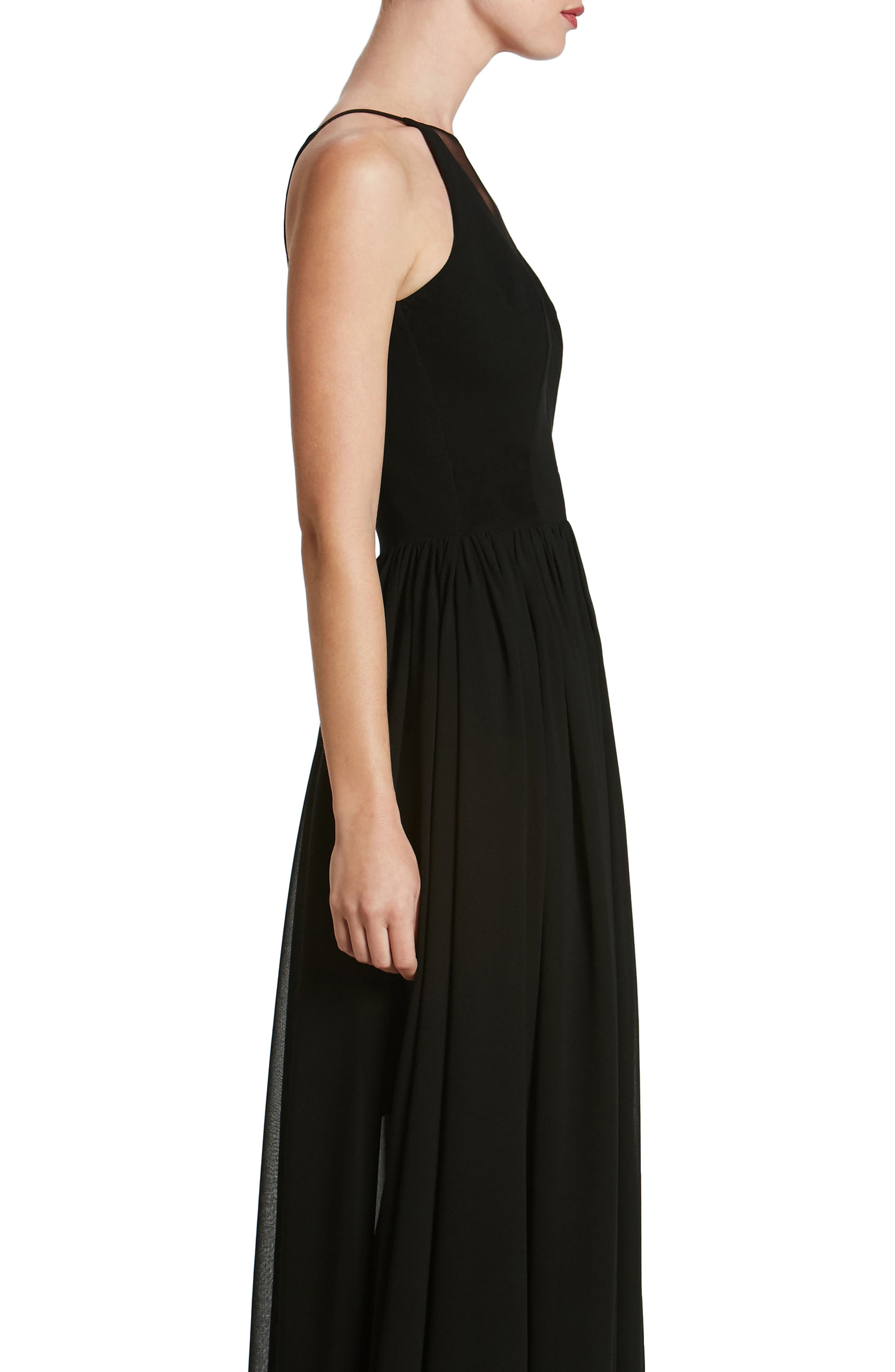 Patricia Illusion Gown,                             Alternate thumbnail 3, color,                             Black
