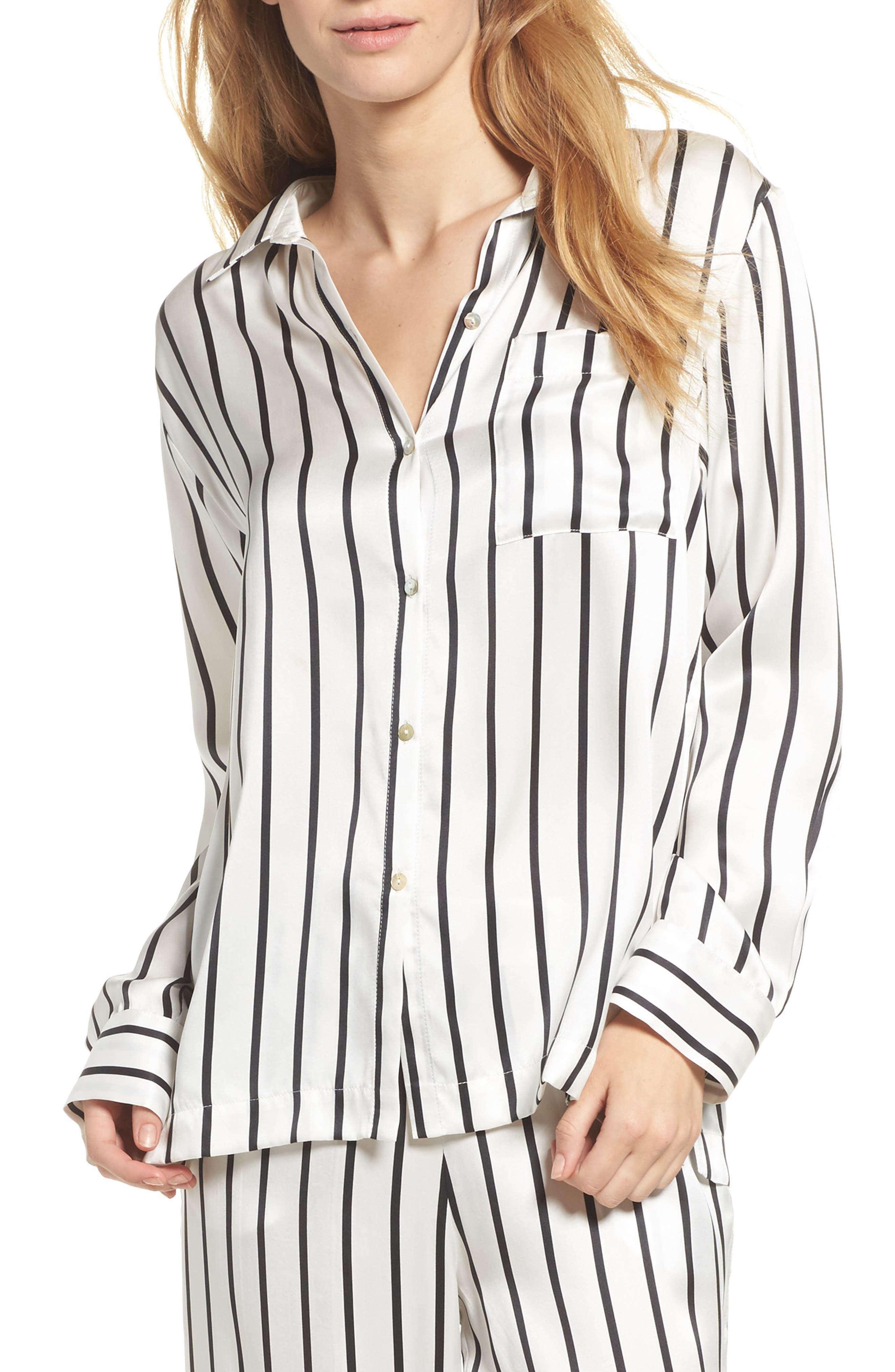 Asceno by Beautiful Bottoms Stripe Silk Pajama Top