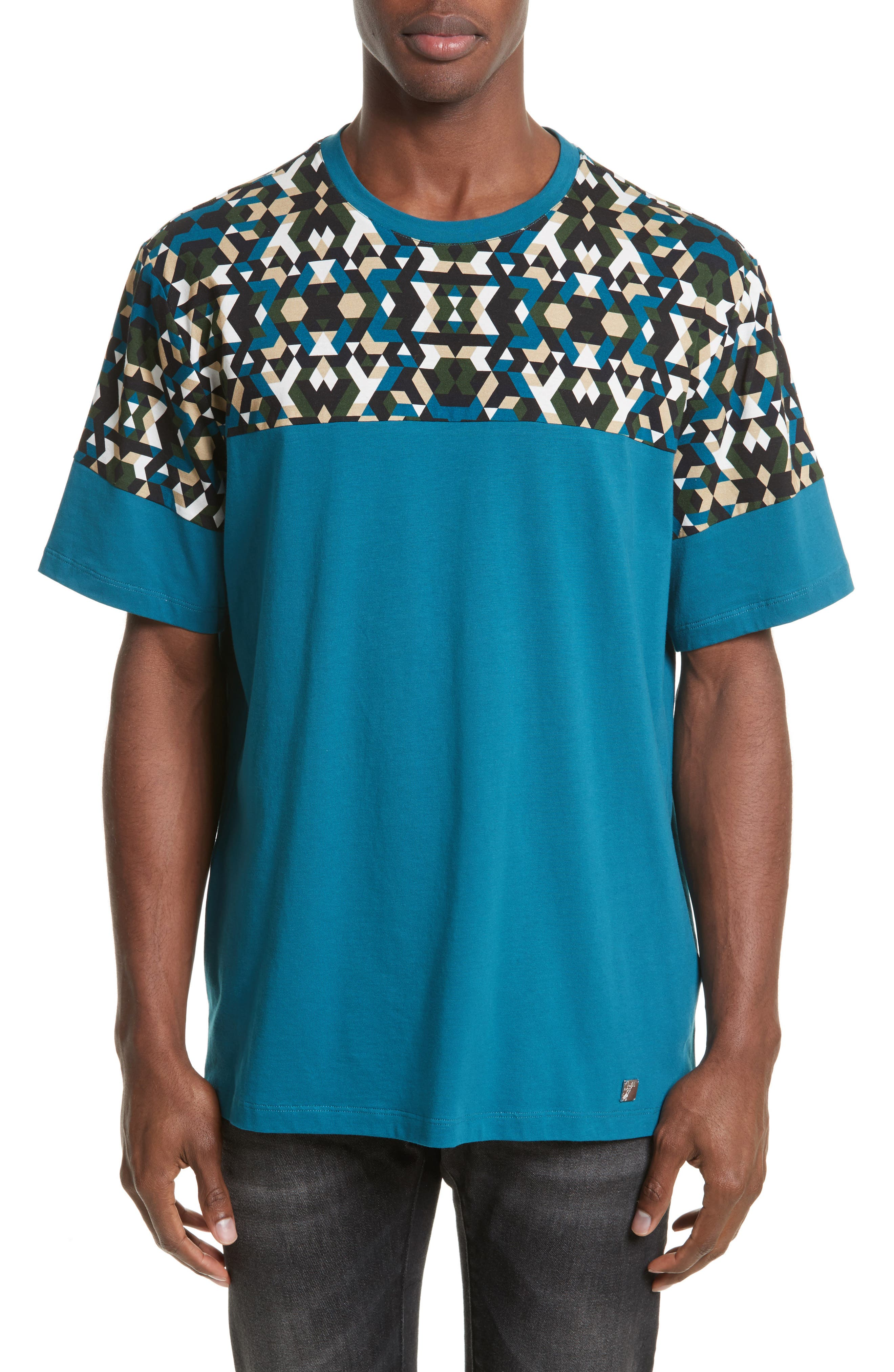Geo Colorblock T-Shirt,                             Main thumbnail 1, color,                             Teal Print