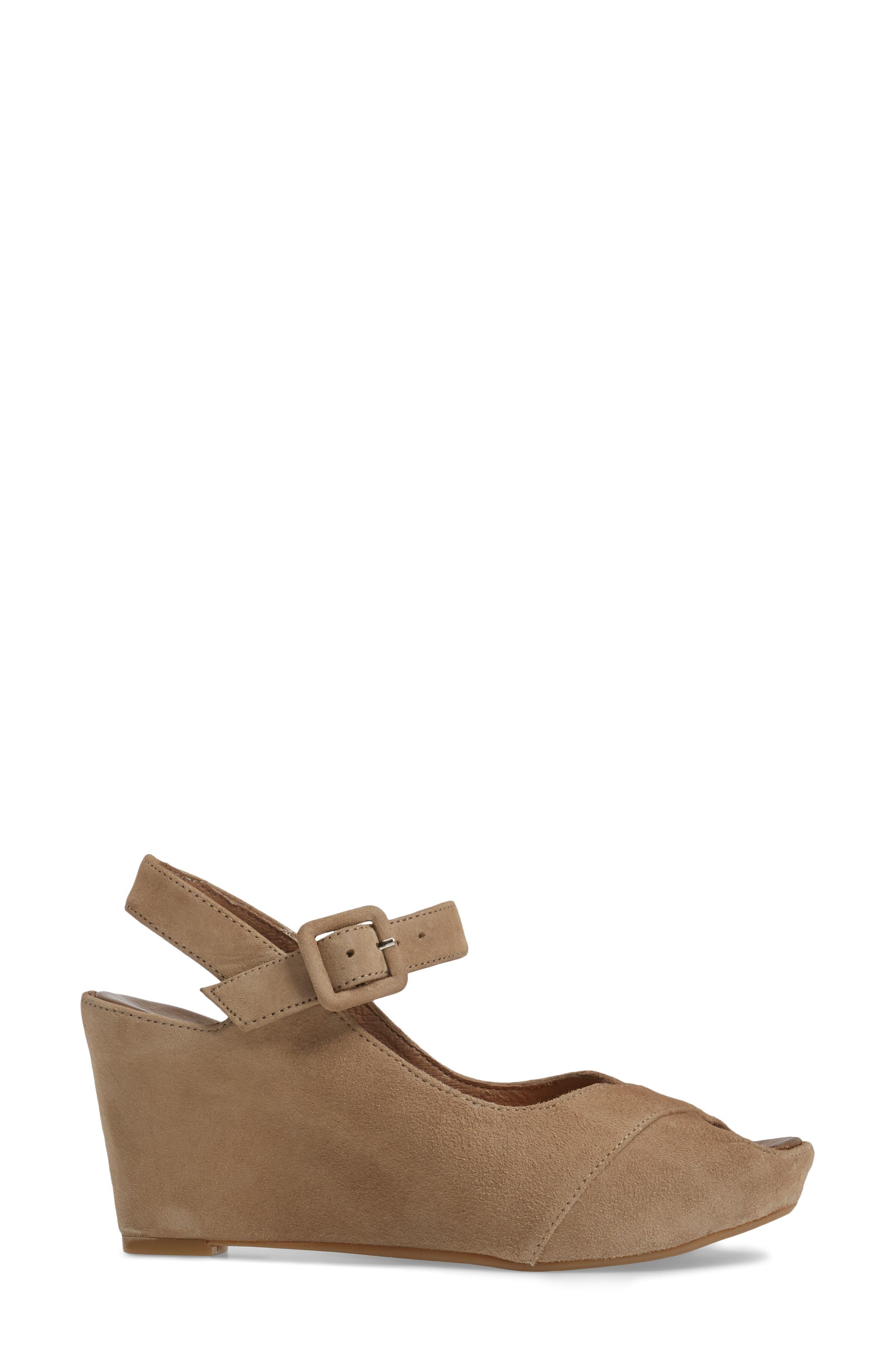 Tara Platform Wedge Sandal,                             Alternate thumbnail 3, color,                             Taupe Suede