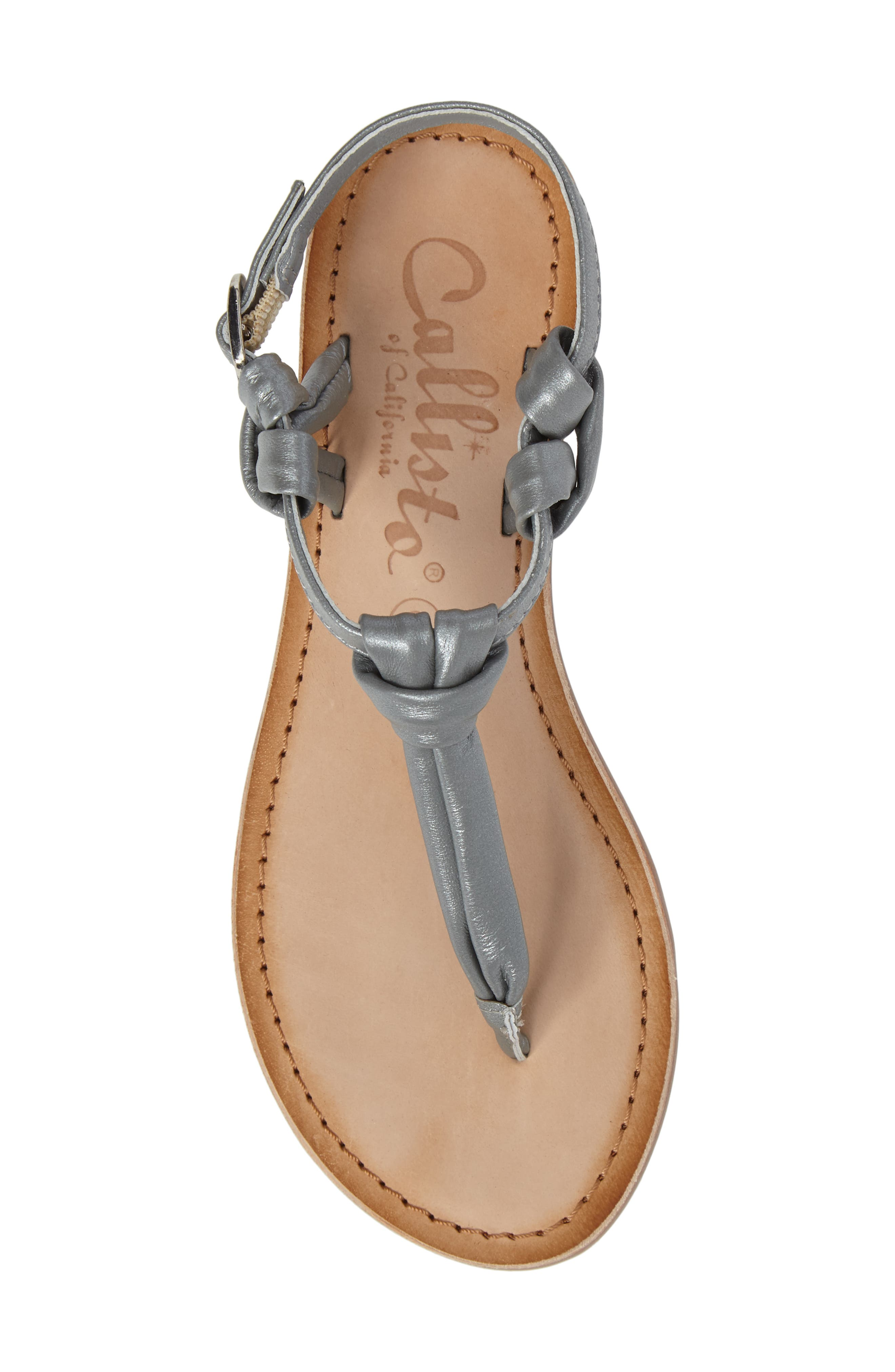 Azza T-Strap Sandal,                             Alternate thumbnail 5, color,                             Pewter Leather