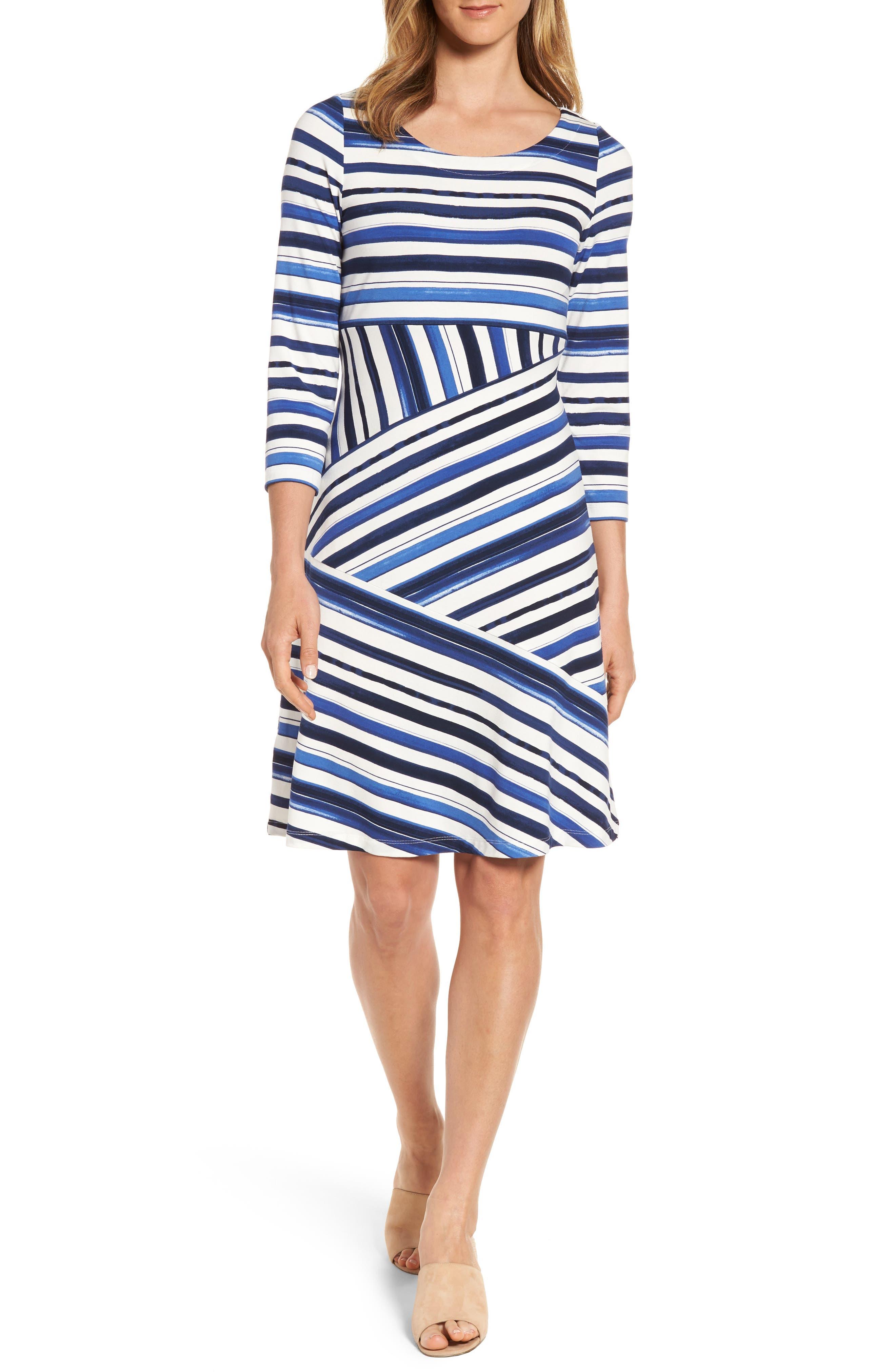 Aquarelle Stripe A-Line Dress,                             Main thumbnail 1, color,                             Eclipse