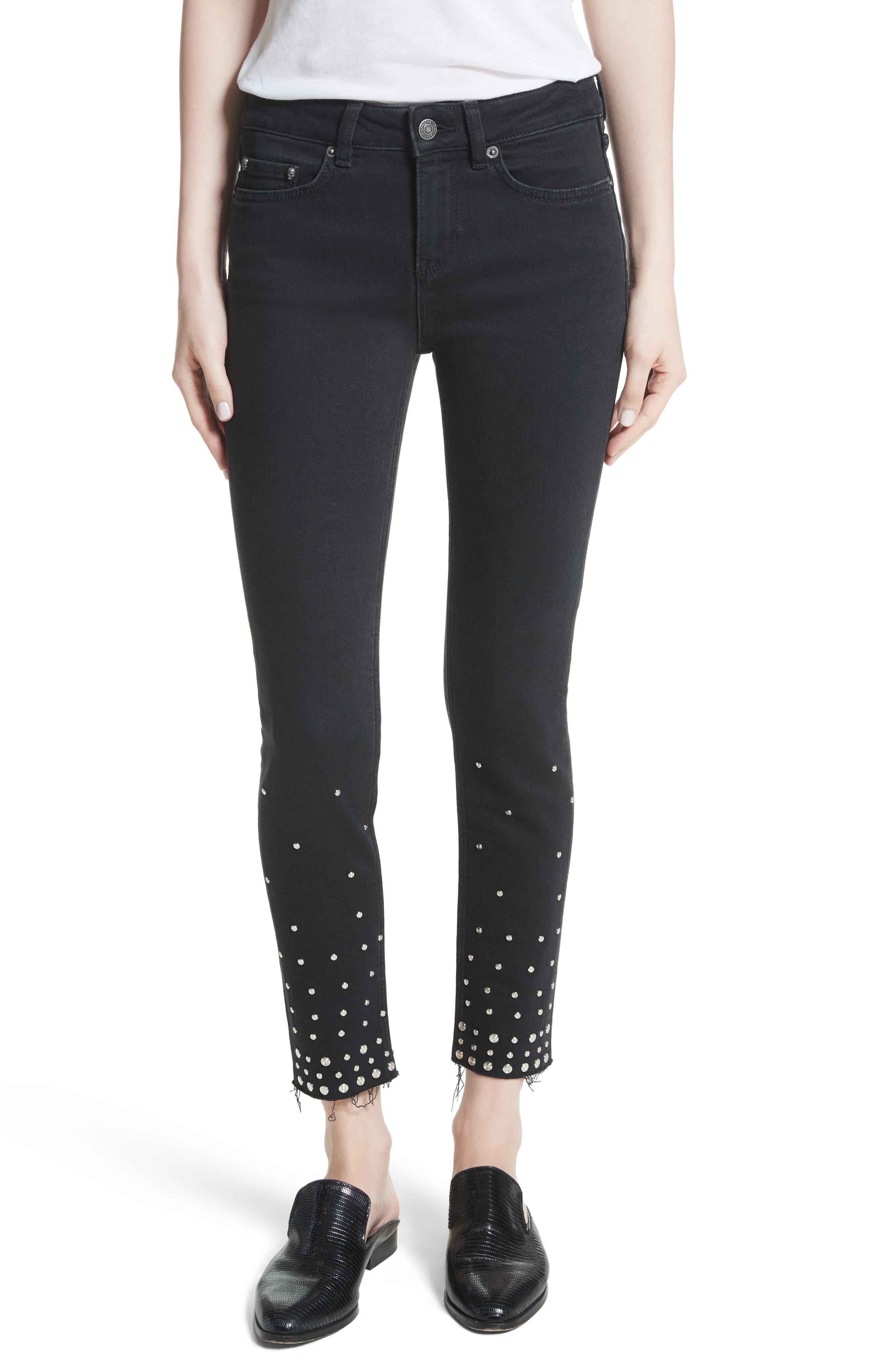 Studded Crop Skinny Jeans,                         Main,                         color, Black