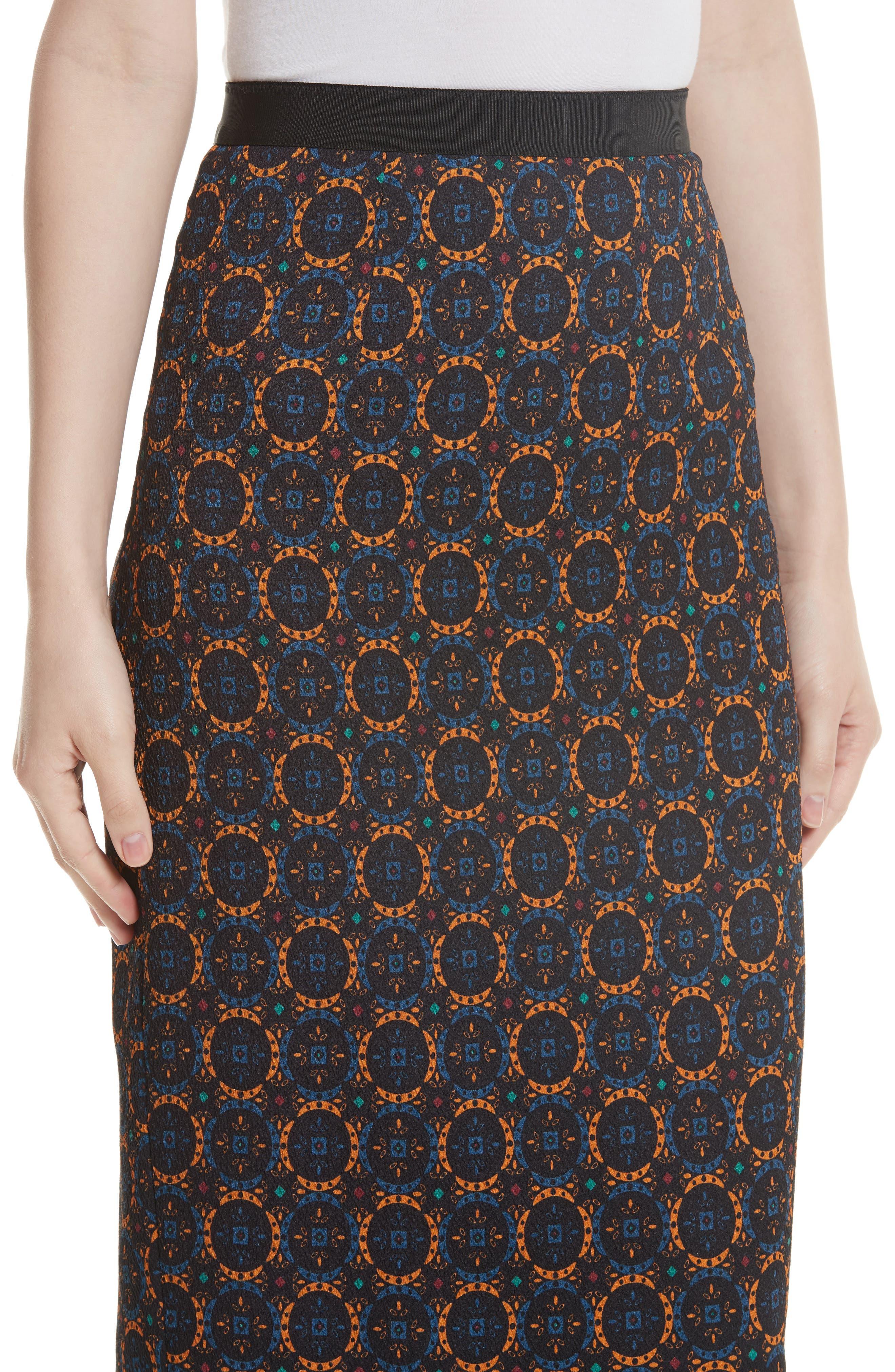 Print Stretch Silk Pencil Skirt,                             Alternate thumbnail 4, color,                             Foulard Placement