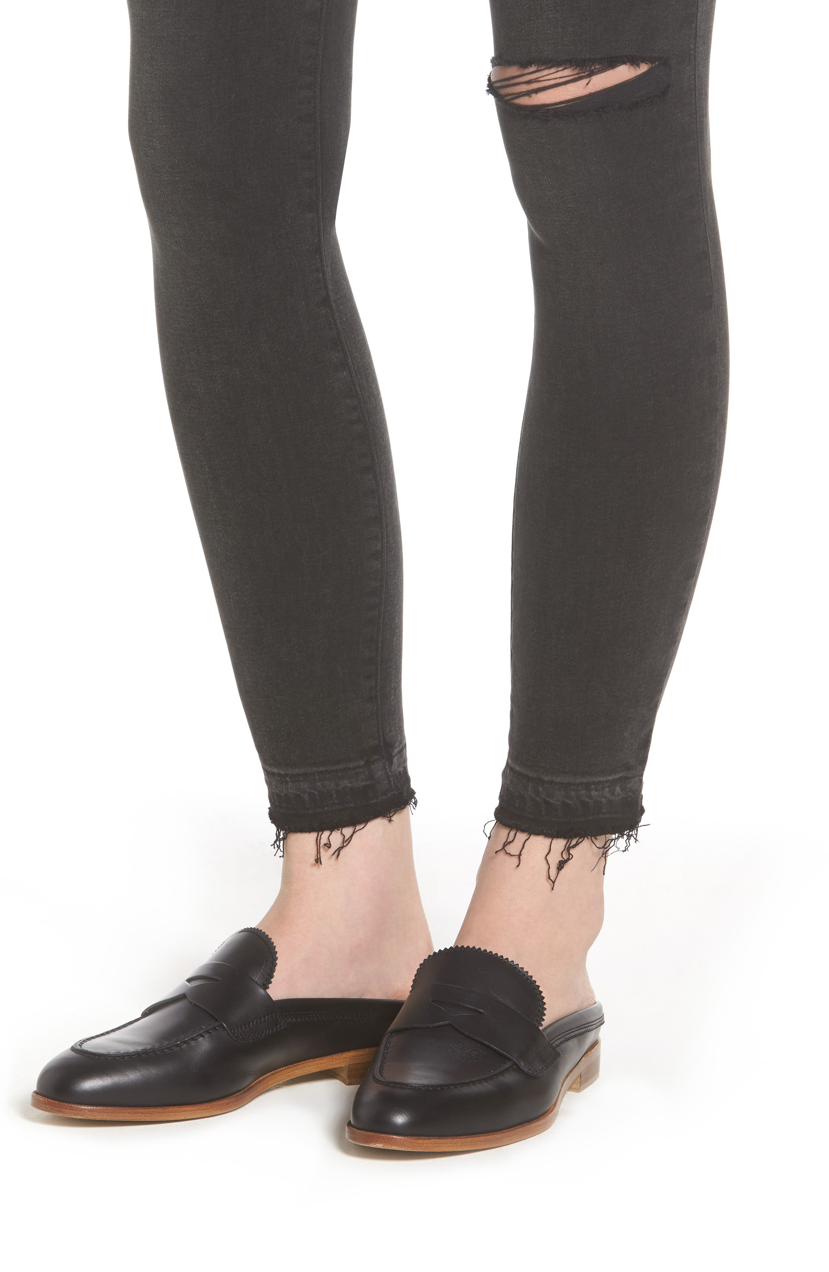 Margaux Instasculpt Ankle Skinny Jeans,                             Alternate thumbnail 4, color,                             Smokey River