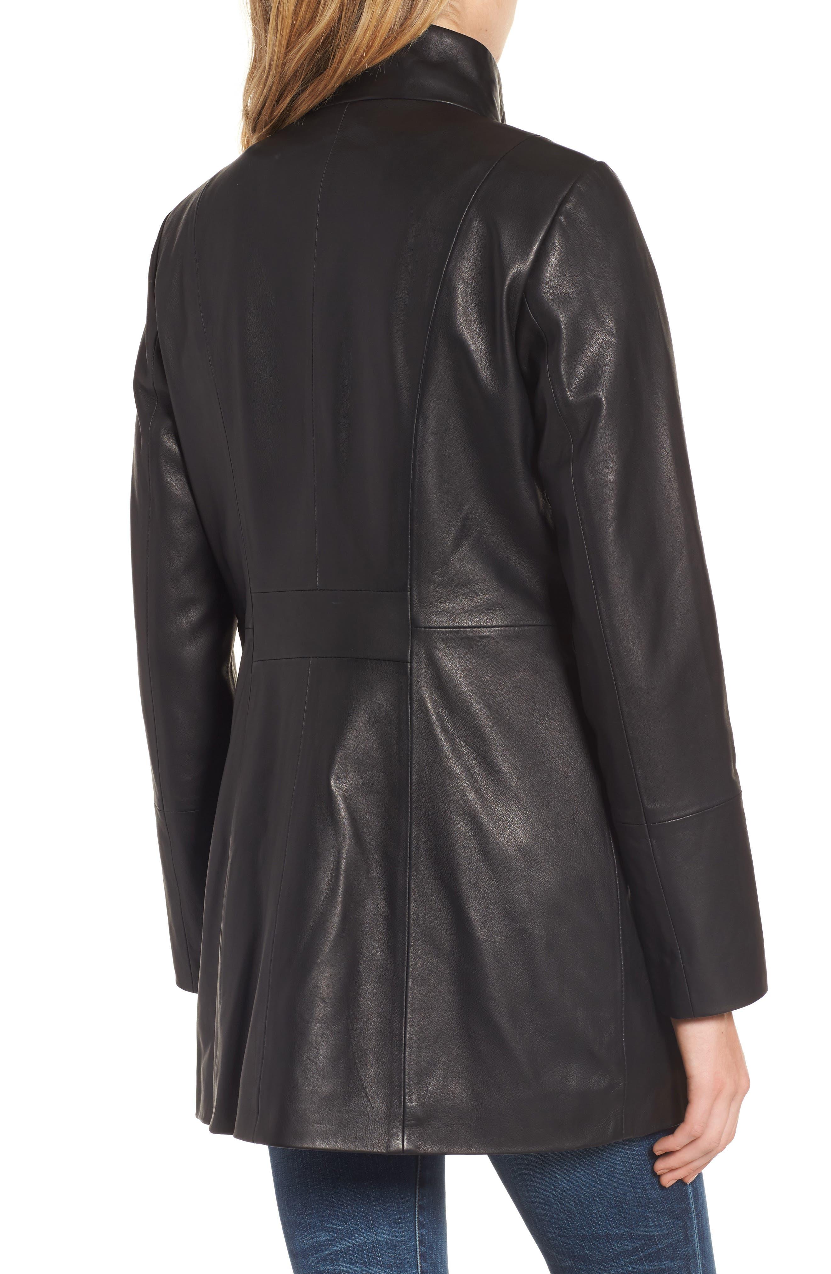 Leather Car Coat,                             Alternate thumbnail 2, color,                             Black
