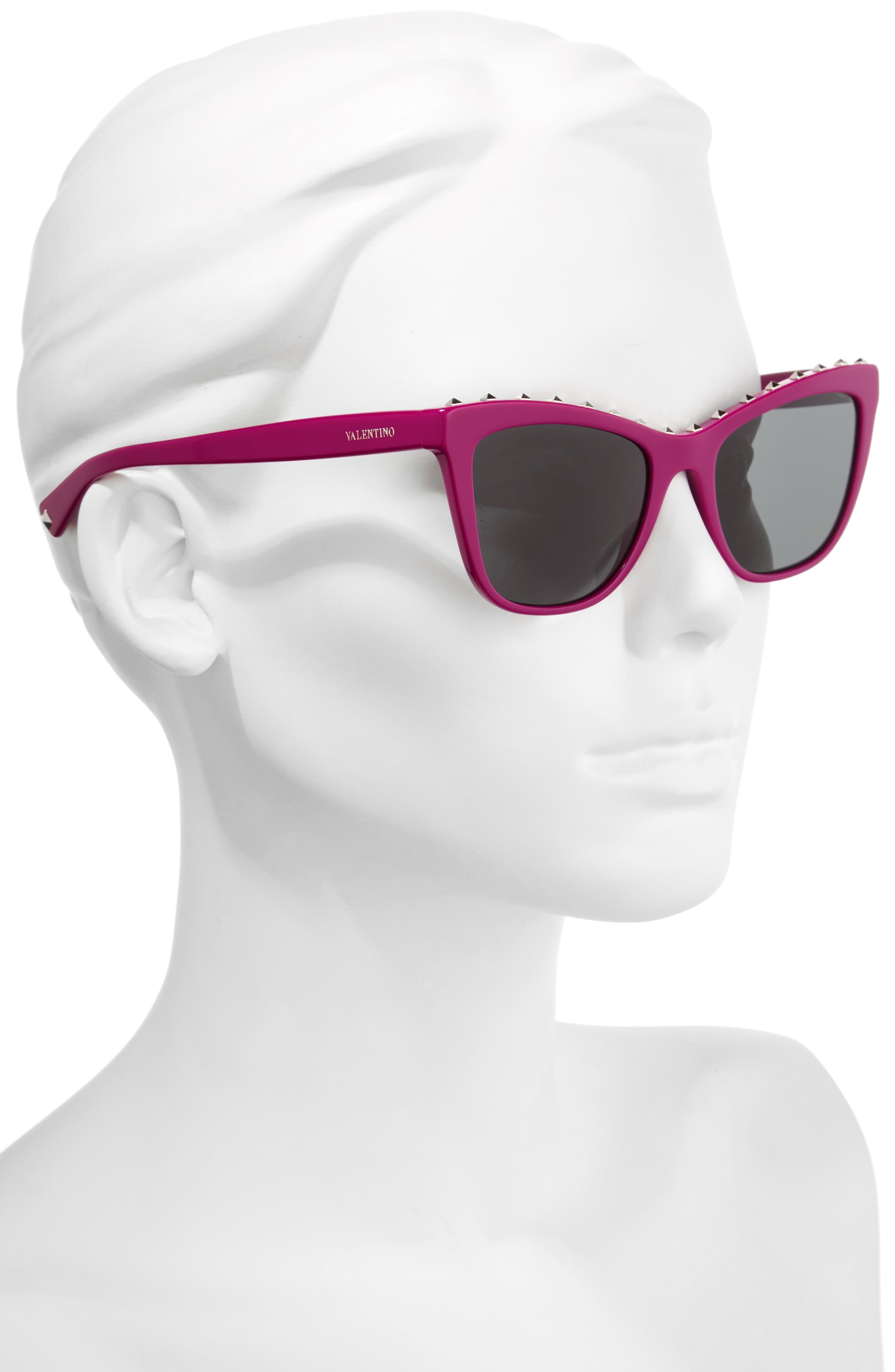 Rockstud 54mm Cat Eye Sunglasses,                             Alternate thumbnail 2, color,                             Fuchsia