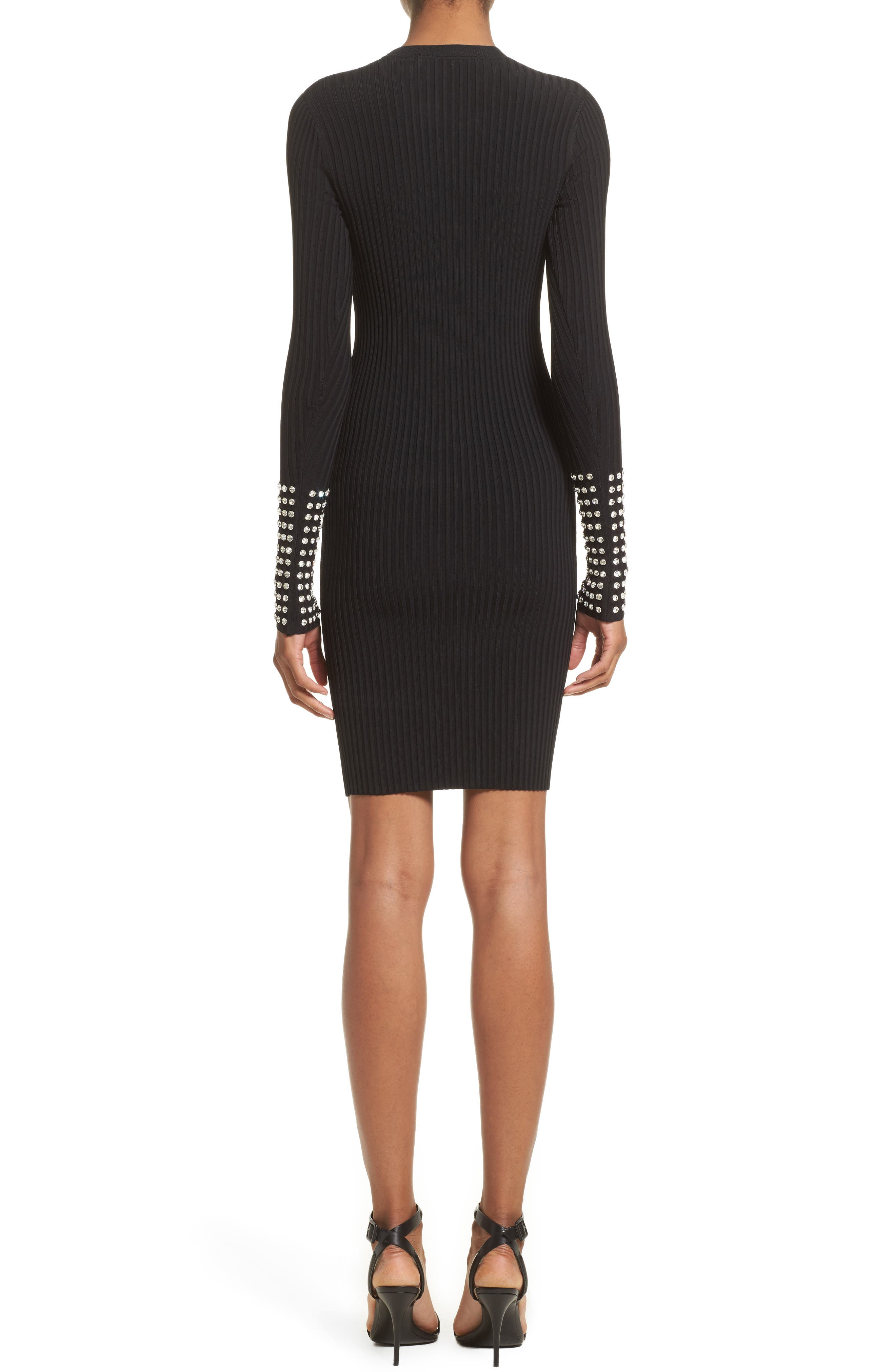 Crystal Cuff Rib Knit Dress,                             Alternate thumbnail 2, color,                             Black