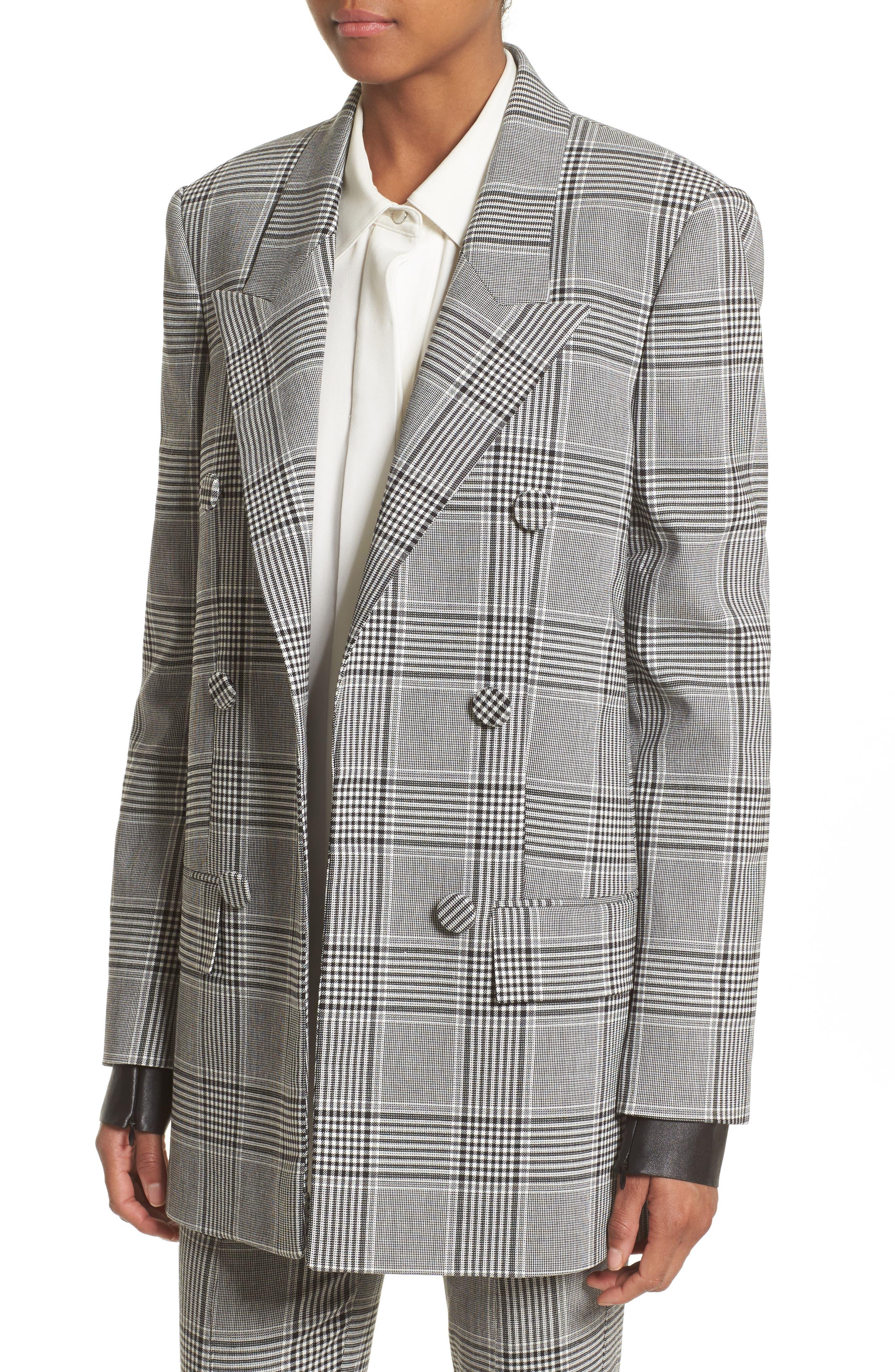 Leather Sleeve Check Blazer,                             Alternate thumbnail 4, color,                             Black/ White