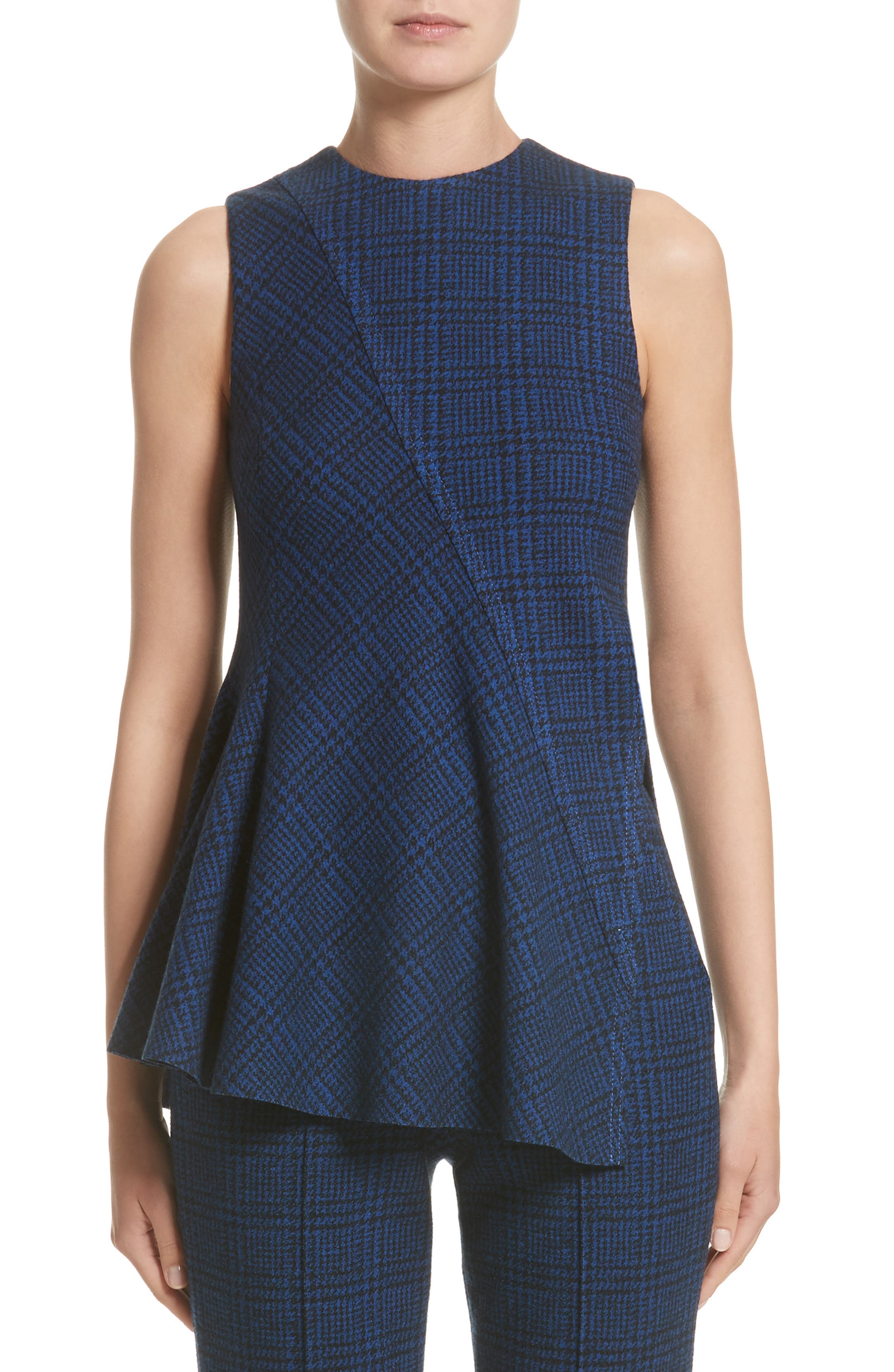 Jason Wu Check Jersey Asymmetrical Peplum Top