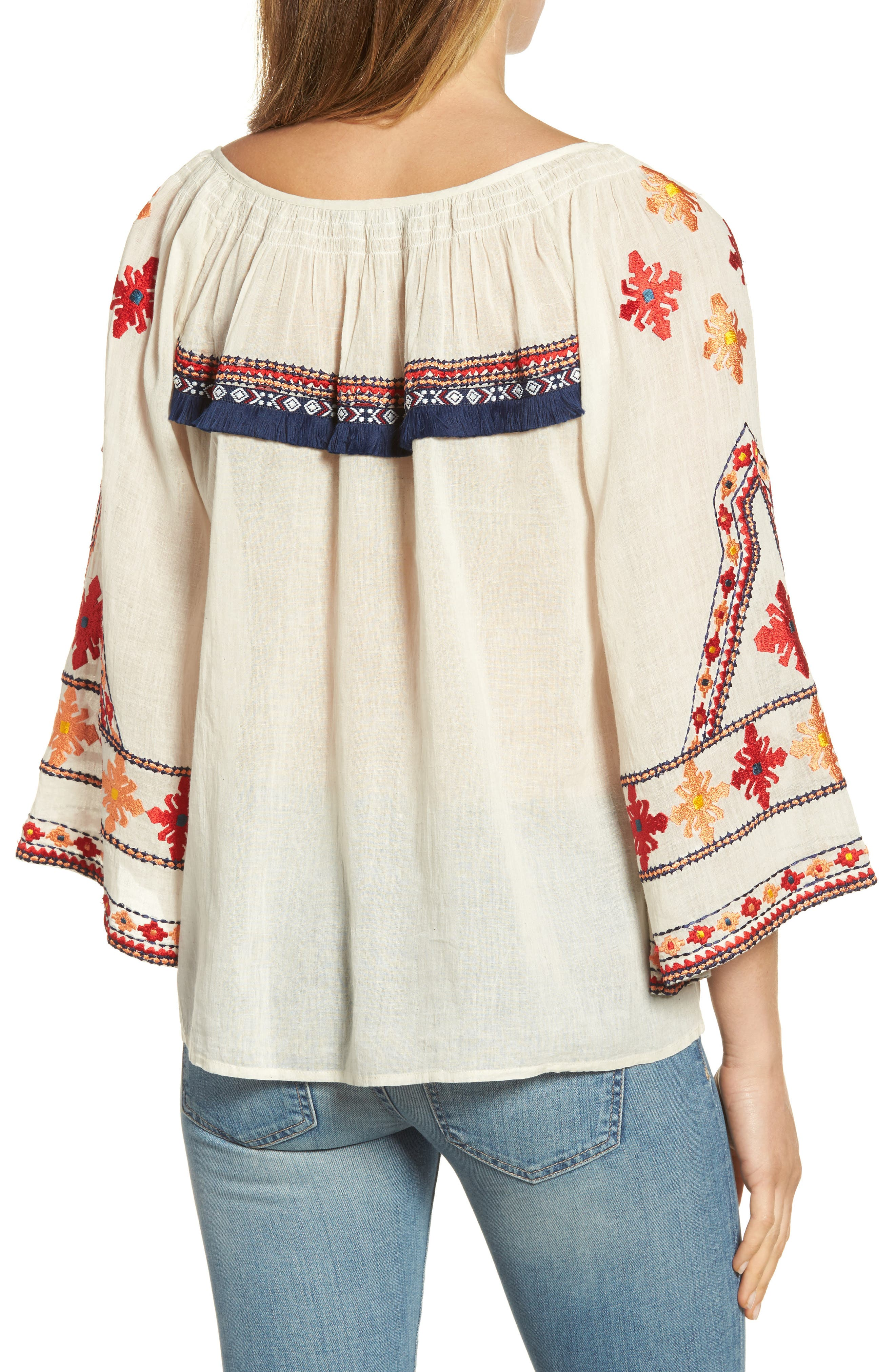 Alternate Image 2  - KAS NEW YORK Juana Embroidered Peasant Top