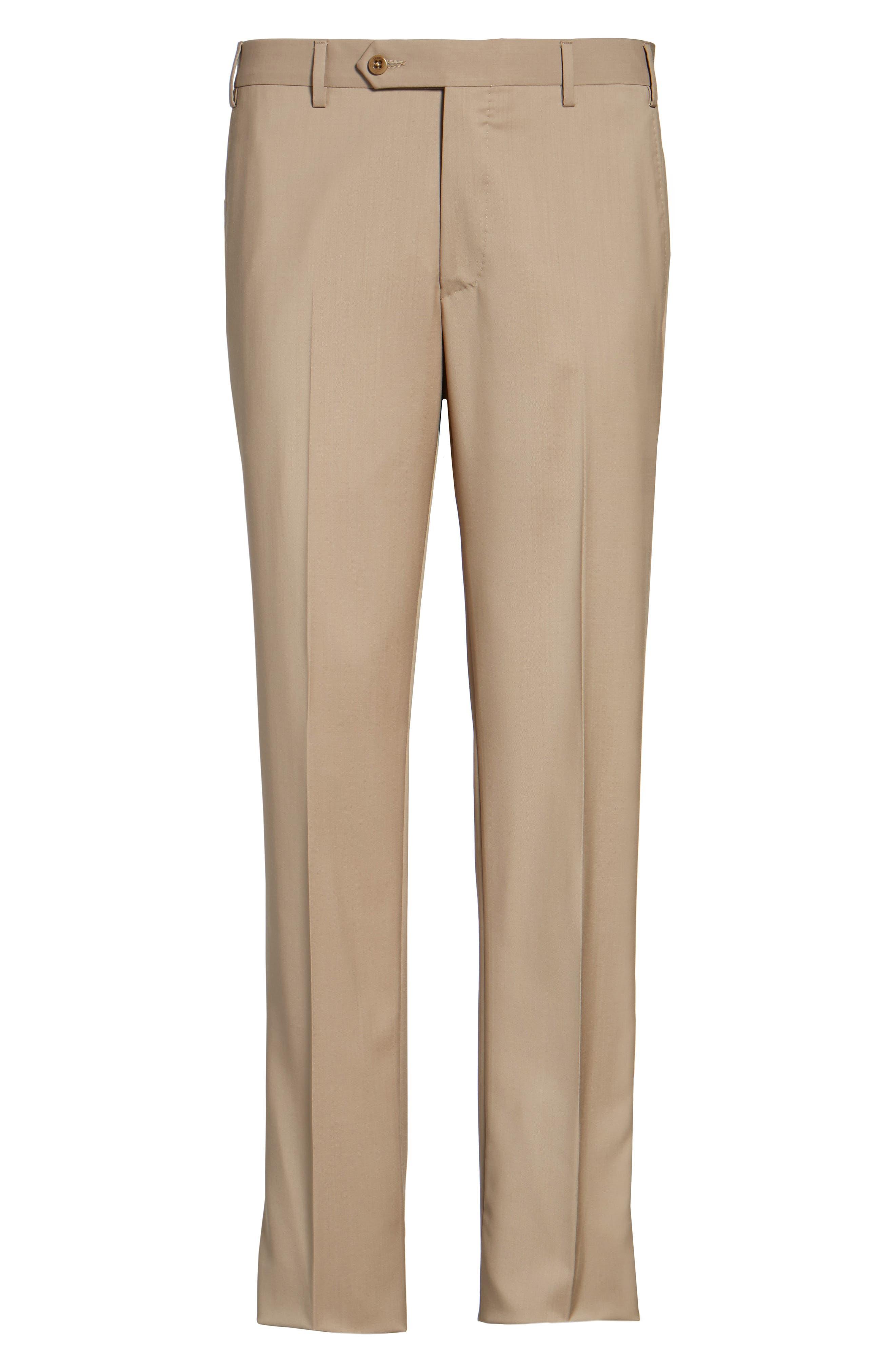 Alternate Image 6  - Zanella Devon Flat Front Solid Wool Trousers