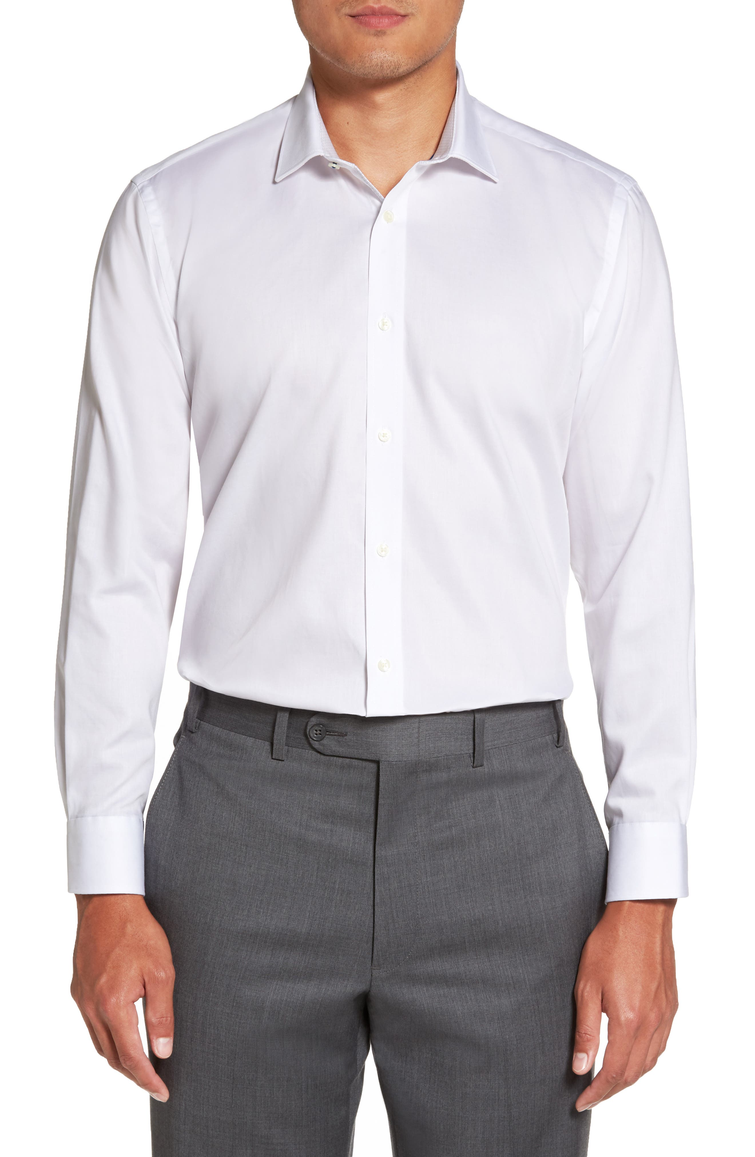 Main Image - Ted Baker London Caramor Trim Fit Solid Dress Shirt