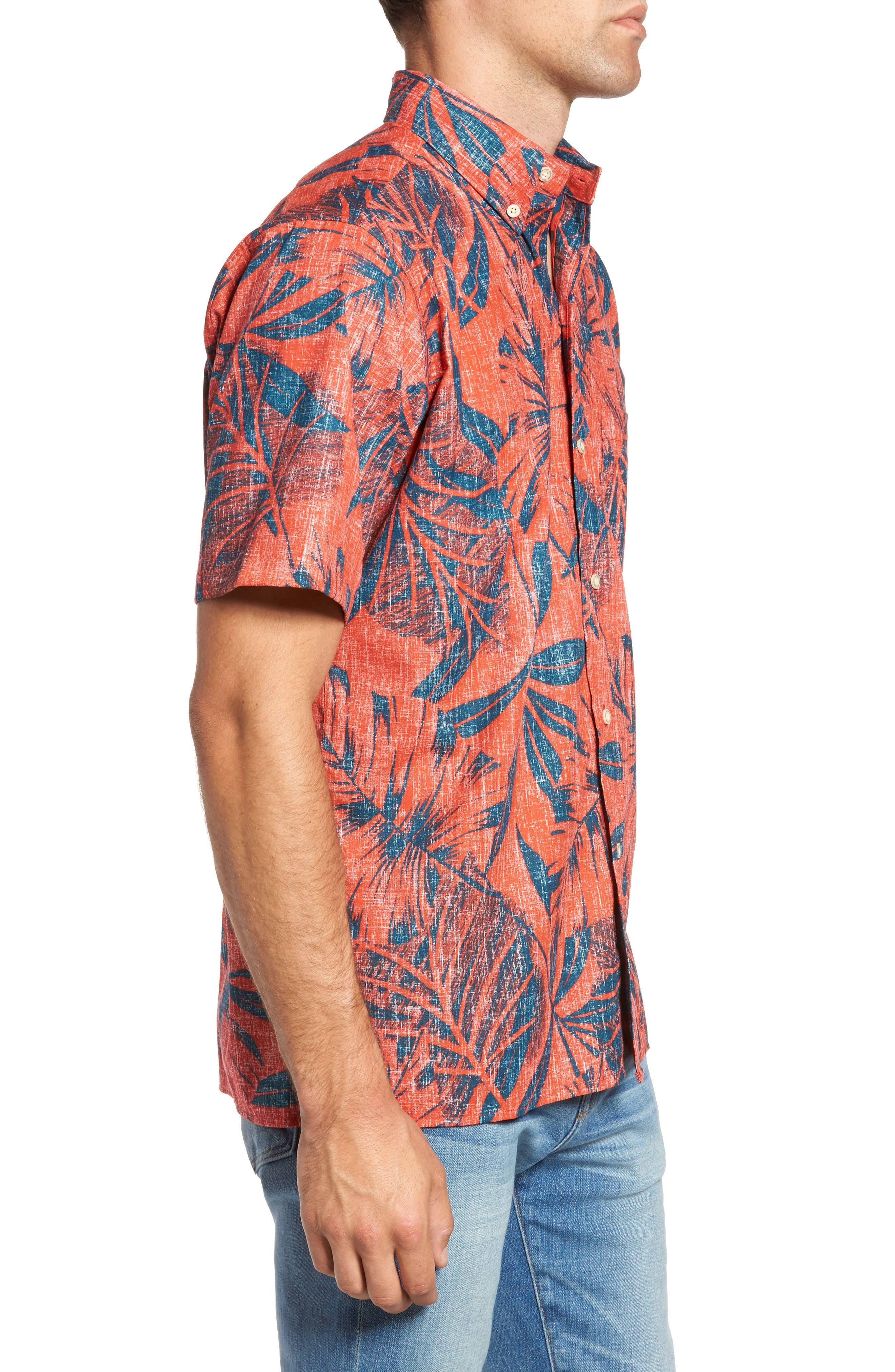 Kaha Lau Classic Fit Sport Shirt,                             Alternate thumbnail 3, color,                             Coral