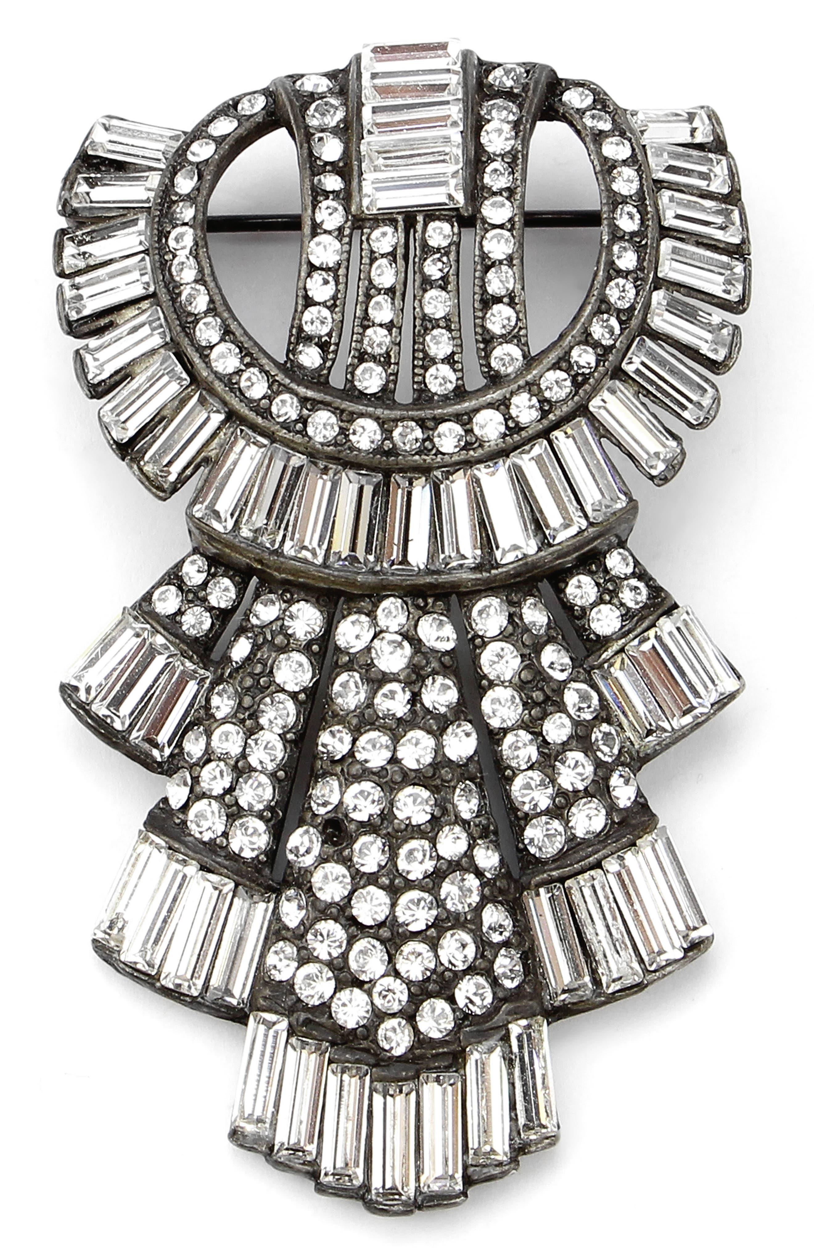 Ben Amun Deco Brooch,                         Main,                         color, Silver