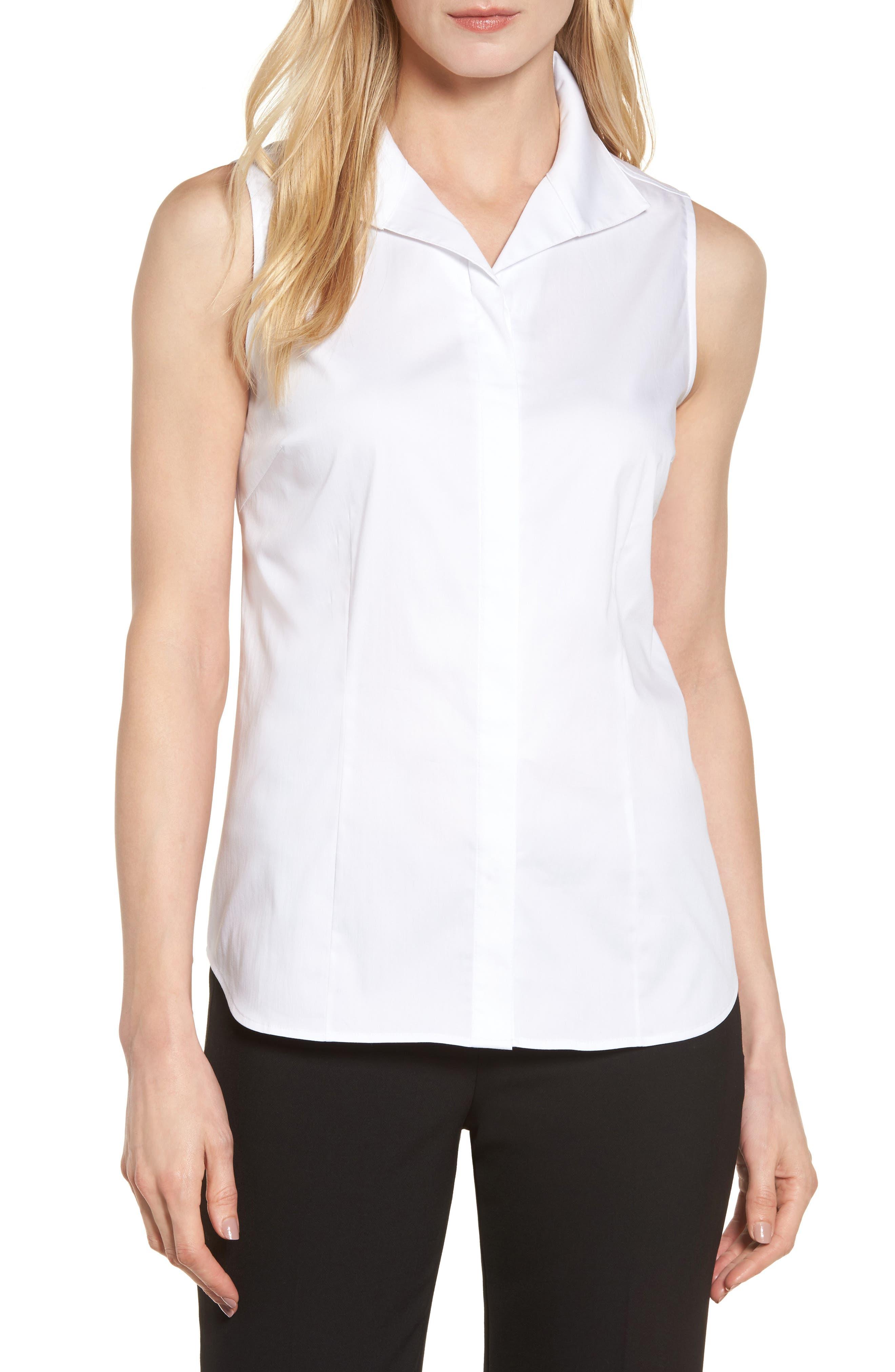 Sleeveless Shirt,                         Main,                         color, White