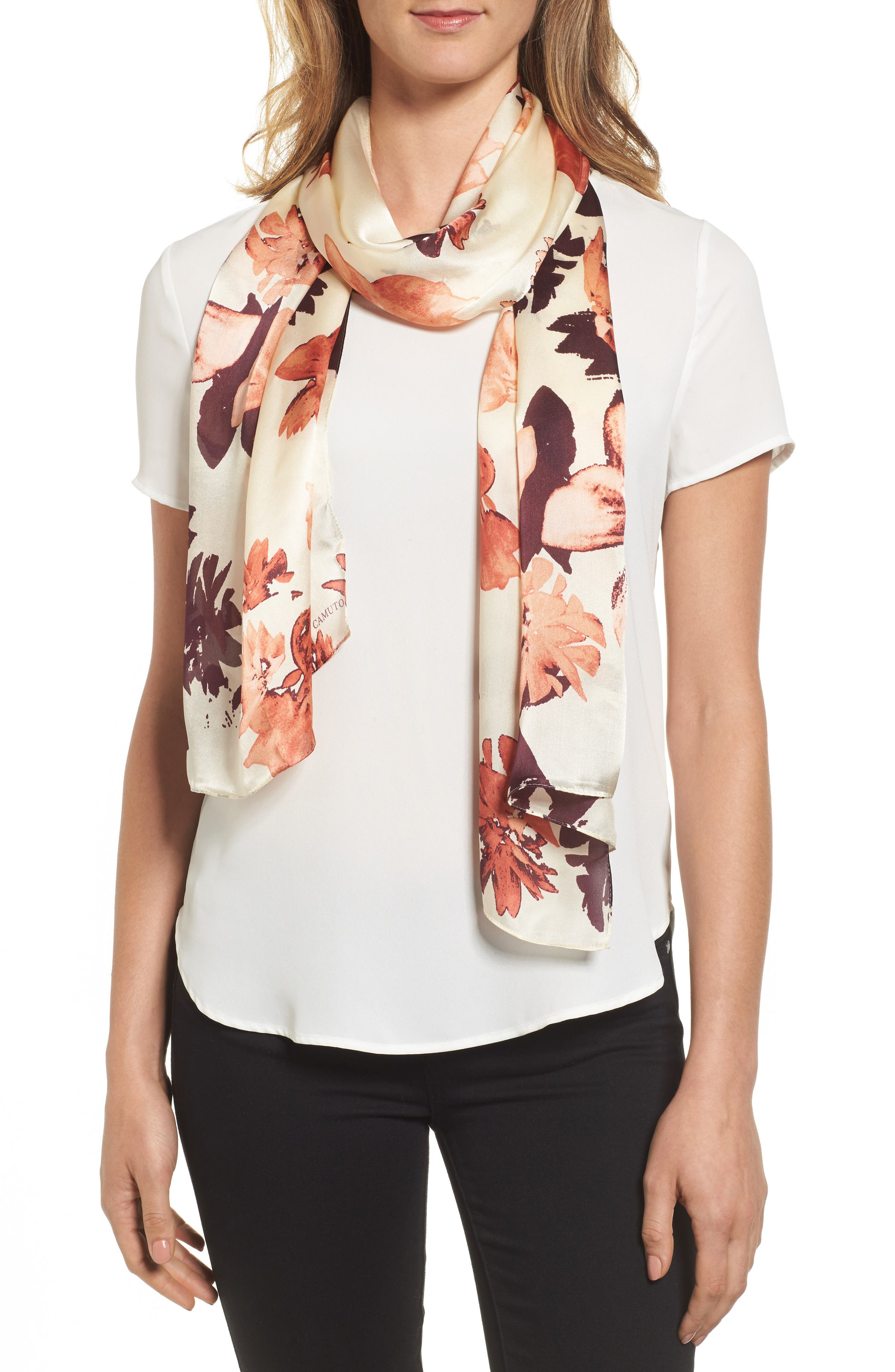 Floral Print Brushed Silk Scarf,                             Main thumbnail 1, color,                             Blush