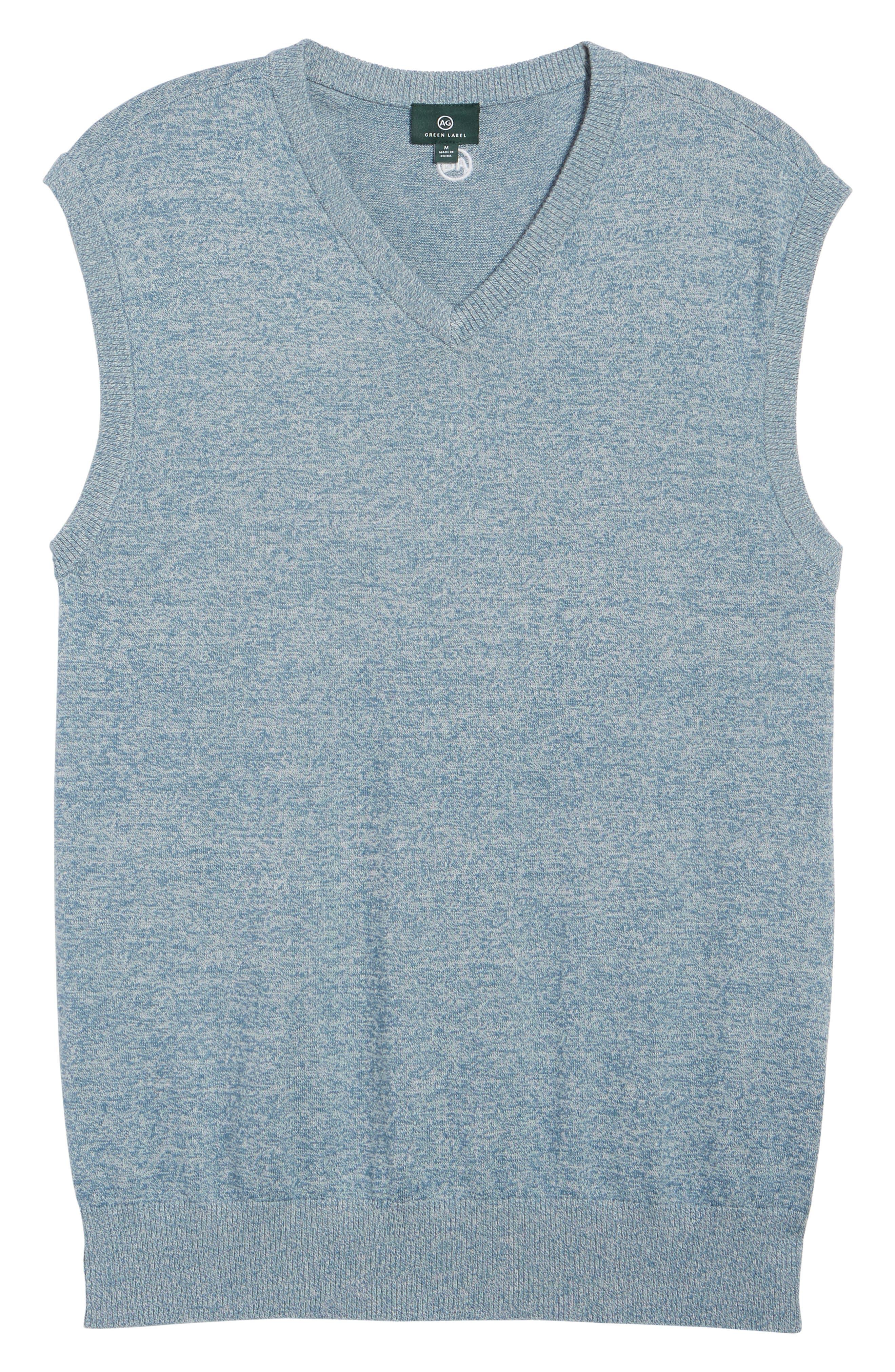Valley V-Neck Sweater Vest,                             Alternate thumbnail 6, color,                             Blue Print/ White Melange
