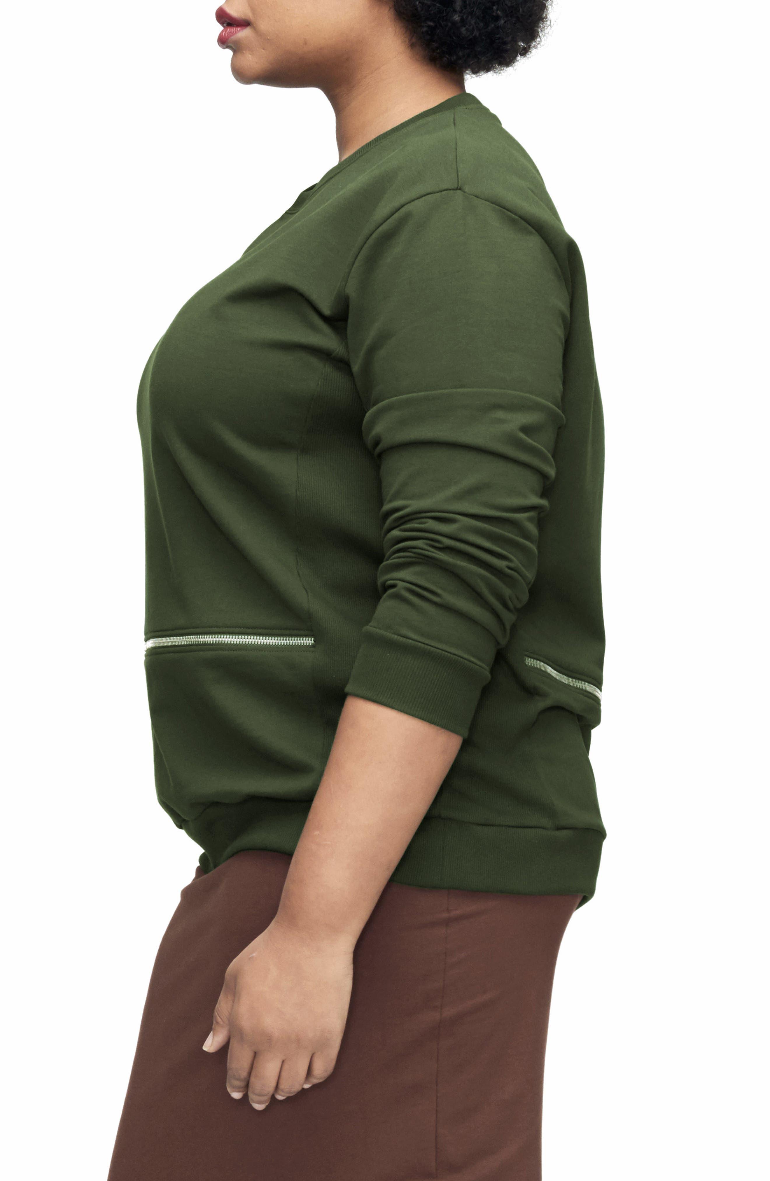 Alternate Image 3  - UNIVERSAL STANDARD Equator Zip Trim Sweatshirt (Plus Size)