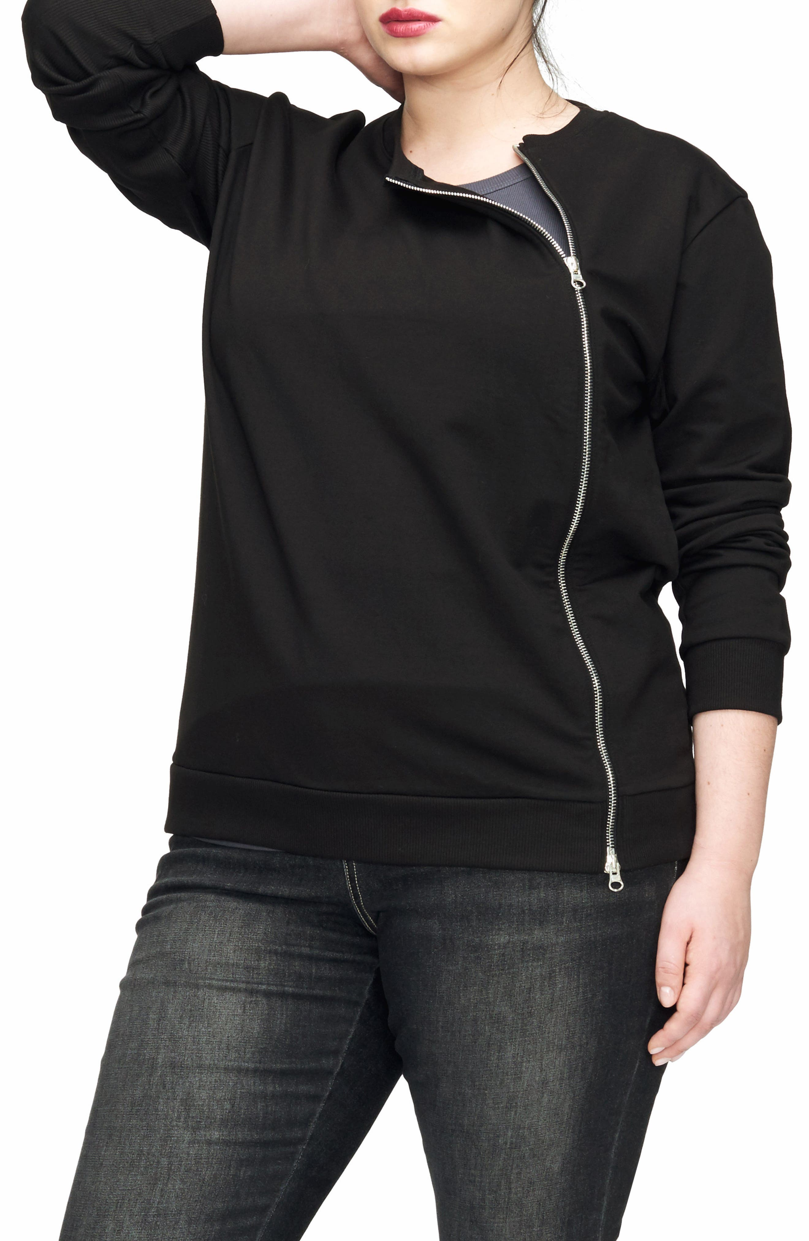 Meridian Zip Front Sweatshirt,                             Alternate thumbnail 3, color,                             Black