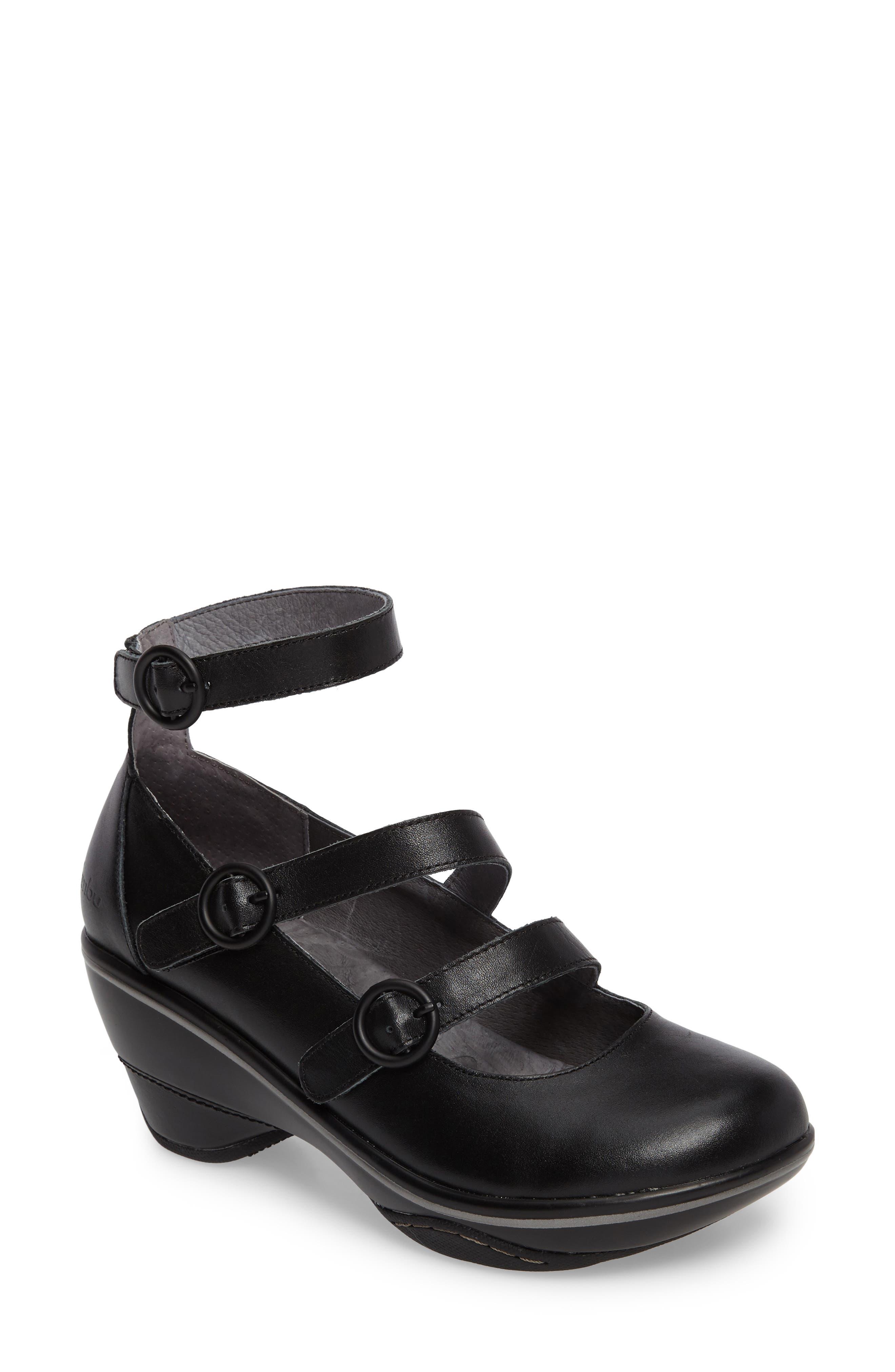 Penelope Triple Strap Pump,                         Main,                         color, Black Leather