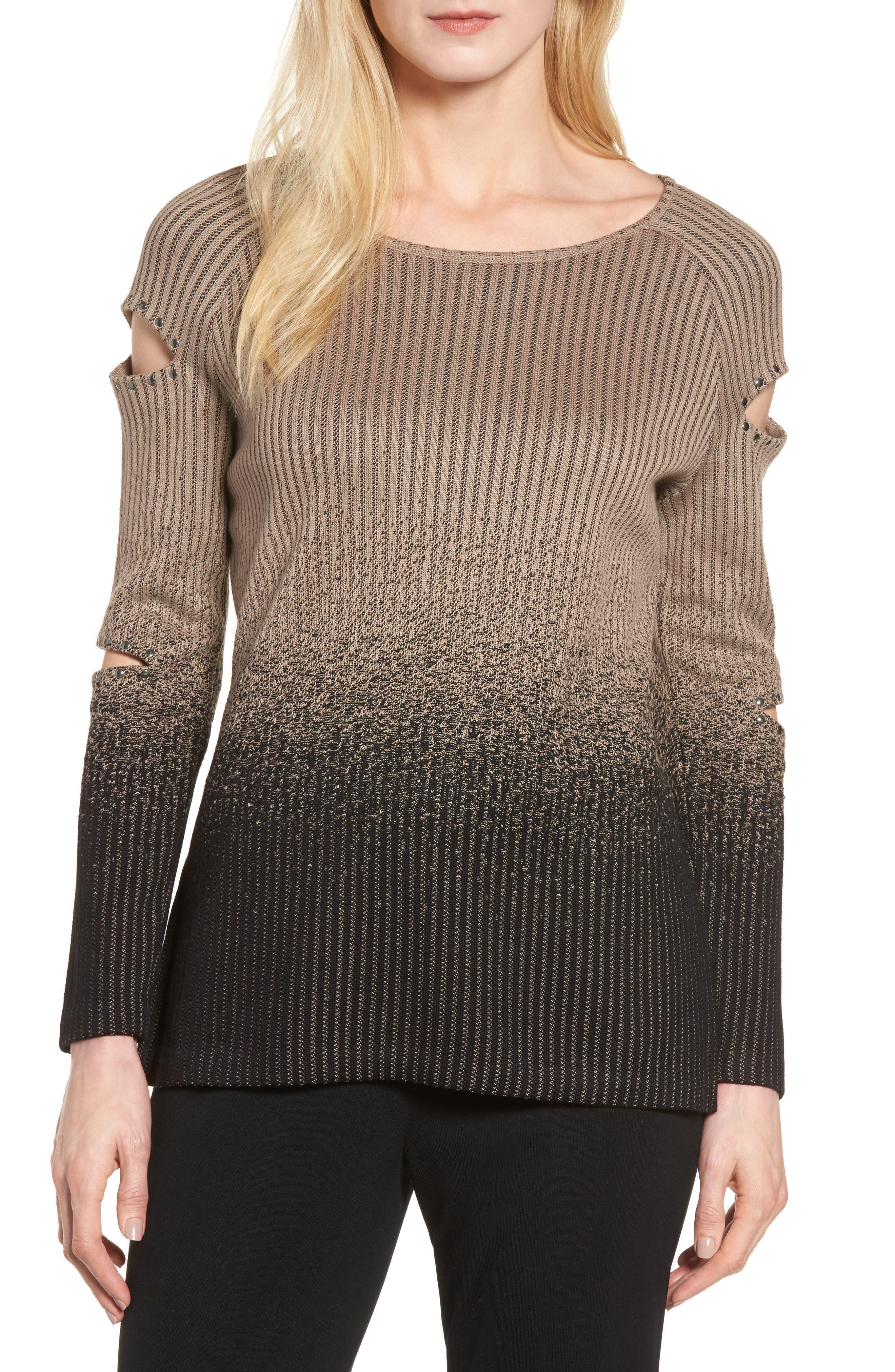 Cutout Sleeve Ribbed Sweater,                         Main,                         color, Ash/ Black