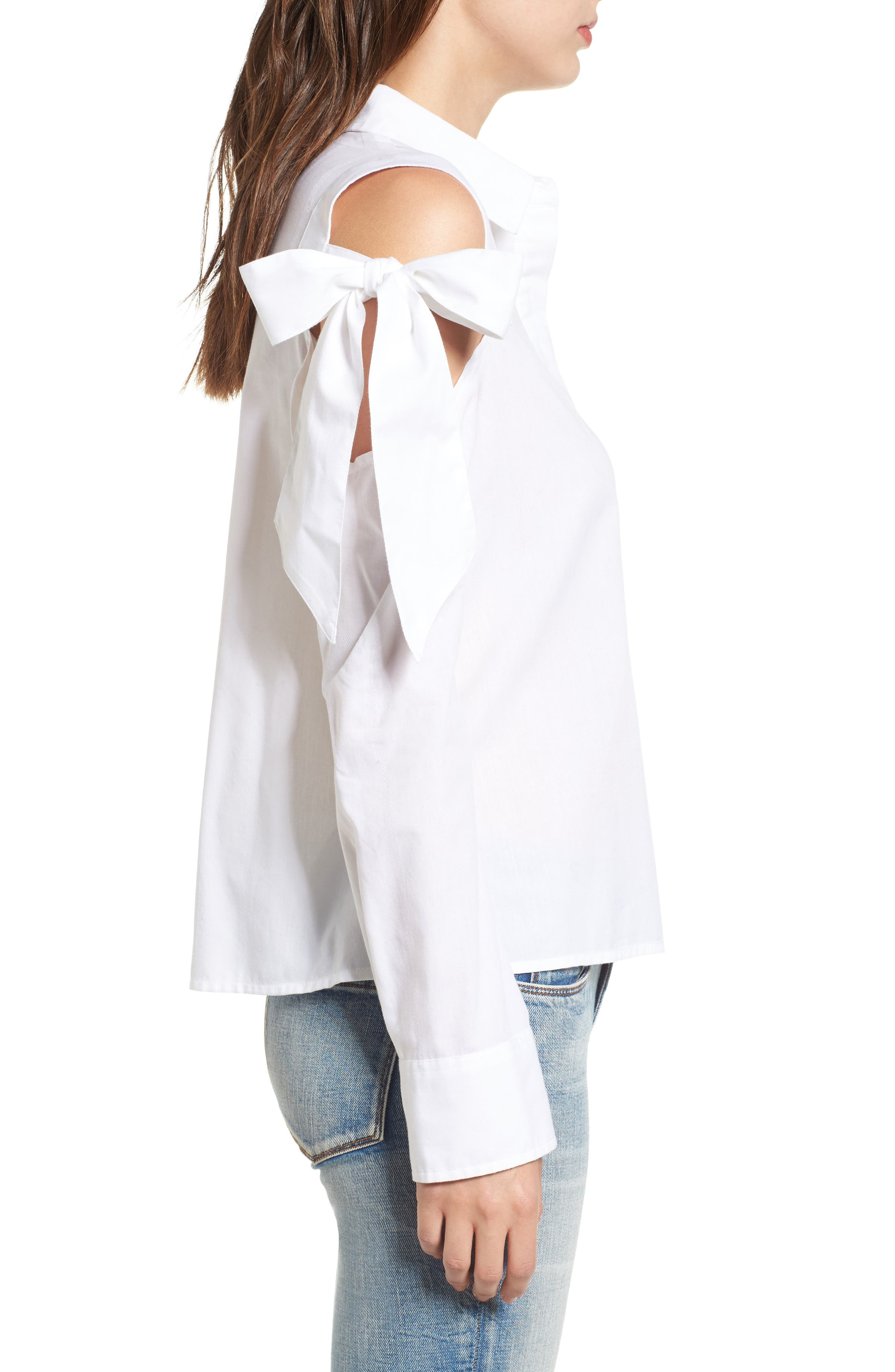 Bow Sleeve Cold Shoulder Shirt,                             Alternate thumbnail 3, color,                             White