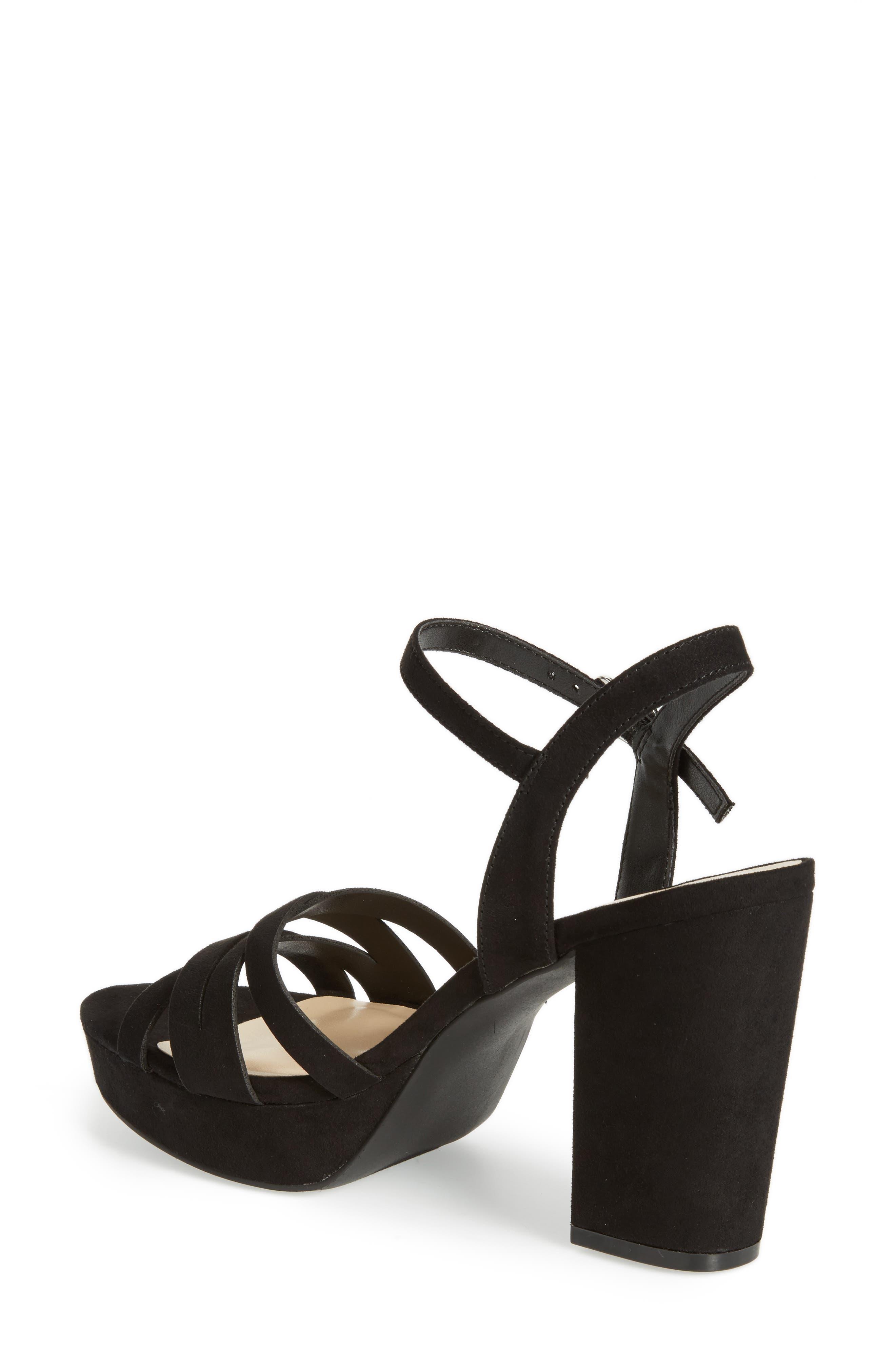 Paxx Platform Sandal,                             Alternate thumbnail 2, color,                             Black Faux Suede