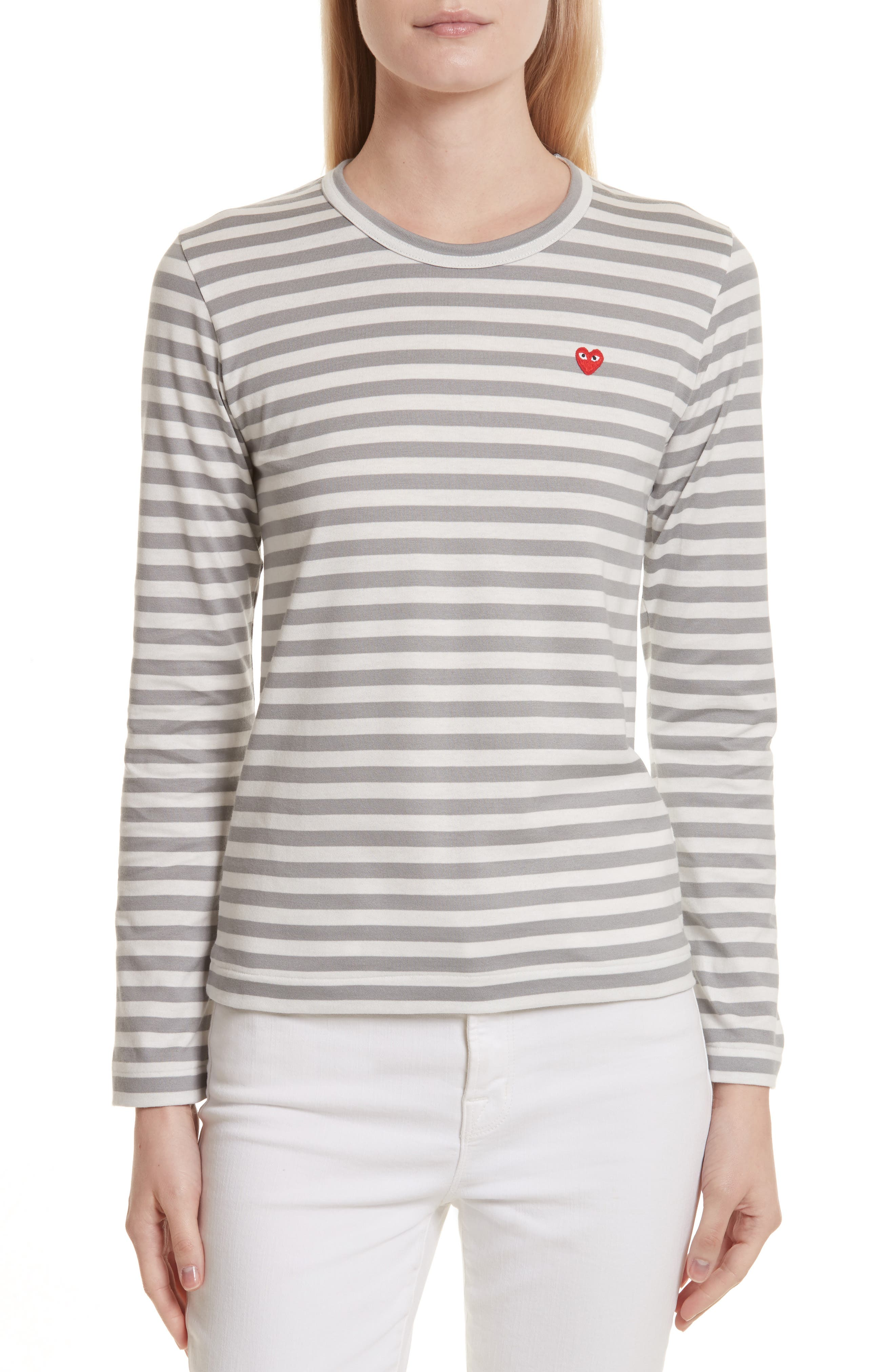 PLAY Heart Stripe Tee,                         Main,                         color, Grey